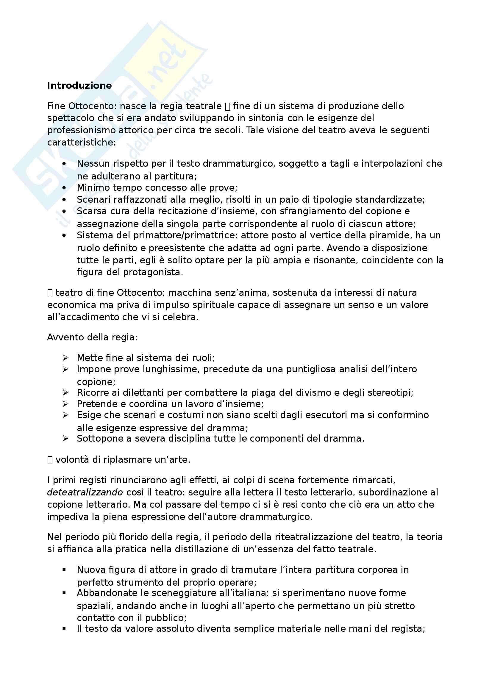 Riassunto esame Teatro Moderno e Contemporaneo, prof. Garavaglia, libro consigliato Il Teatro di Regia: Genesi ed Evoluzione, Carocci