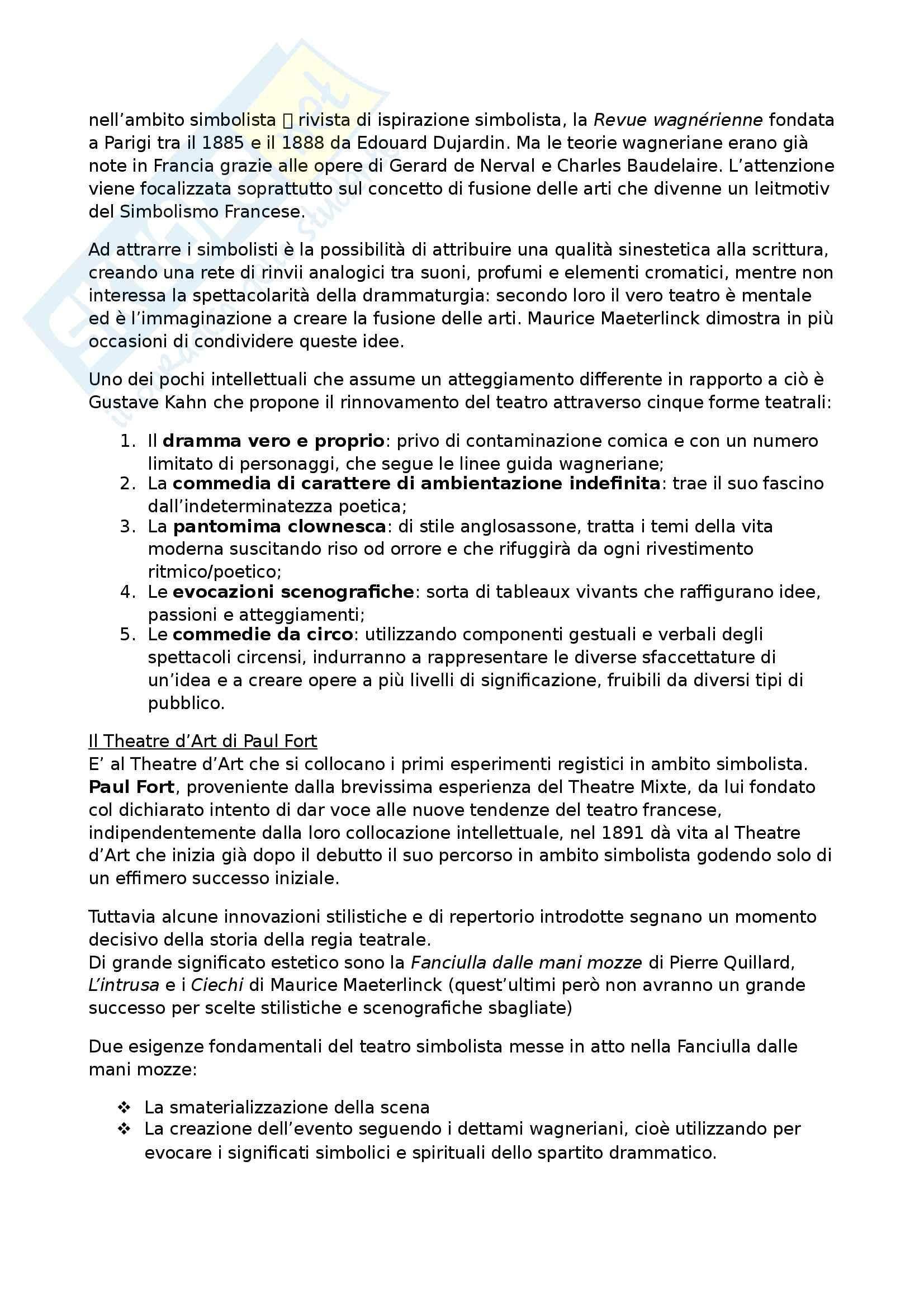 Riassunto esame Teatro Moderno e Contemporaneo, prof. Garavaglia, libro consigliato Il Teatro di Regia: Genesi ed Evoluzione, Carocci Pag. 11