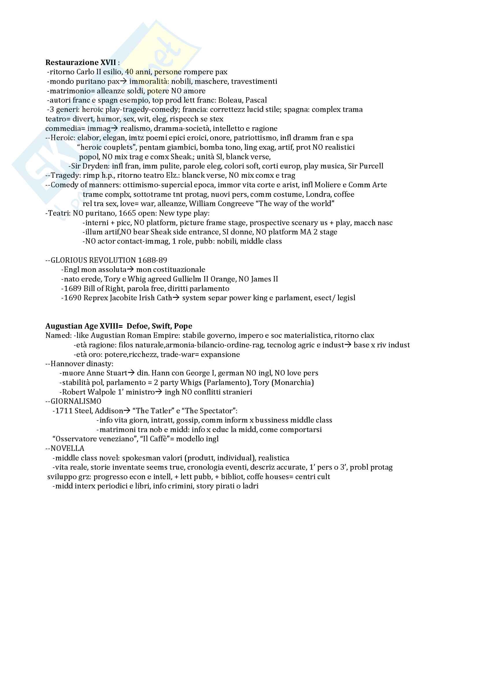 Letteratura Inglese 2 Schemi
