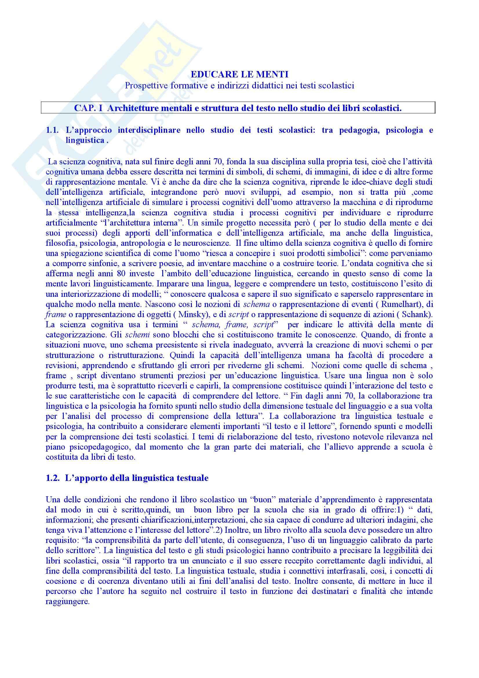 Riassunto esame Pedagogia Generale, prof. Spadafora, libro consigliato Educare le Menti, Besant