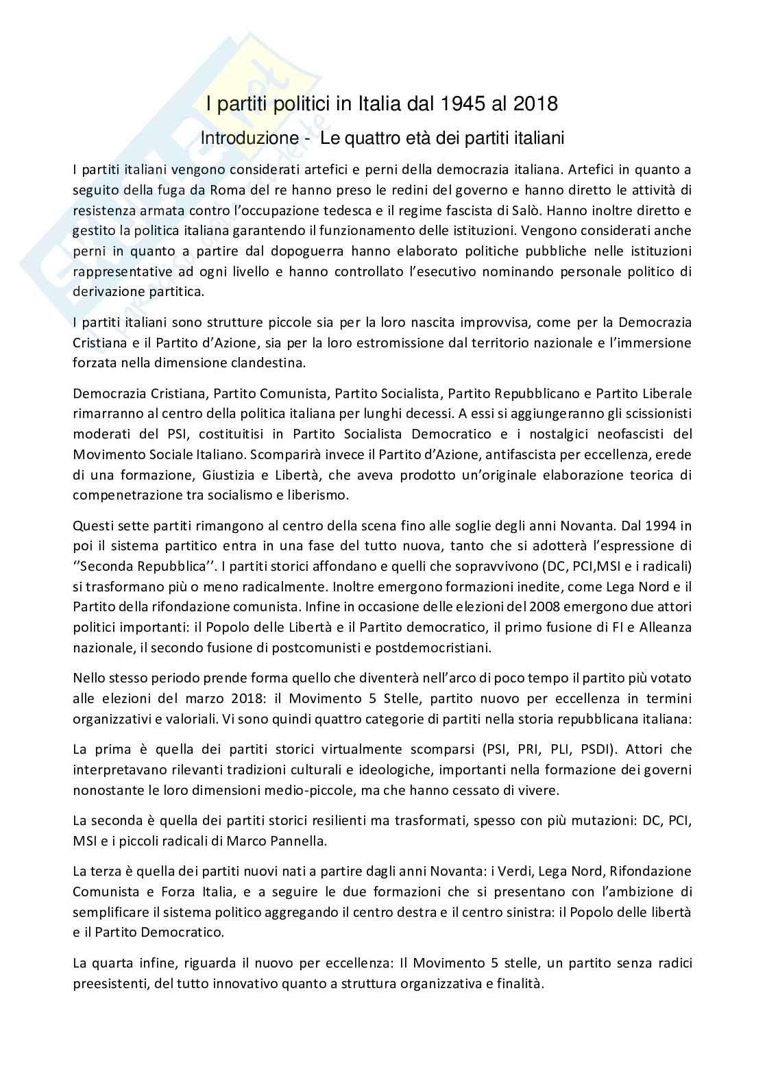 Riassunto esame Sociologia della politica, prof. Gritti, libro consigliato I partiti in italia dal 1945 al 2018, Ignazi Pag. 1