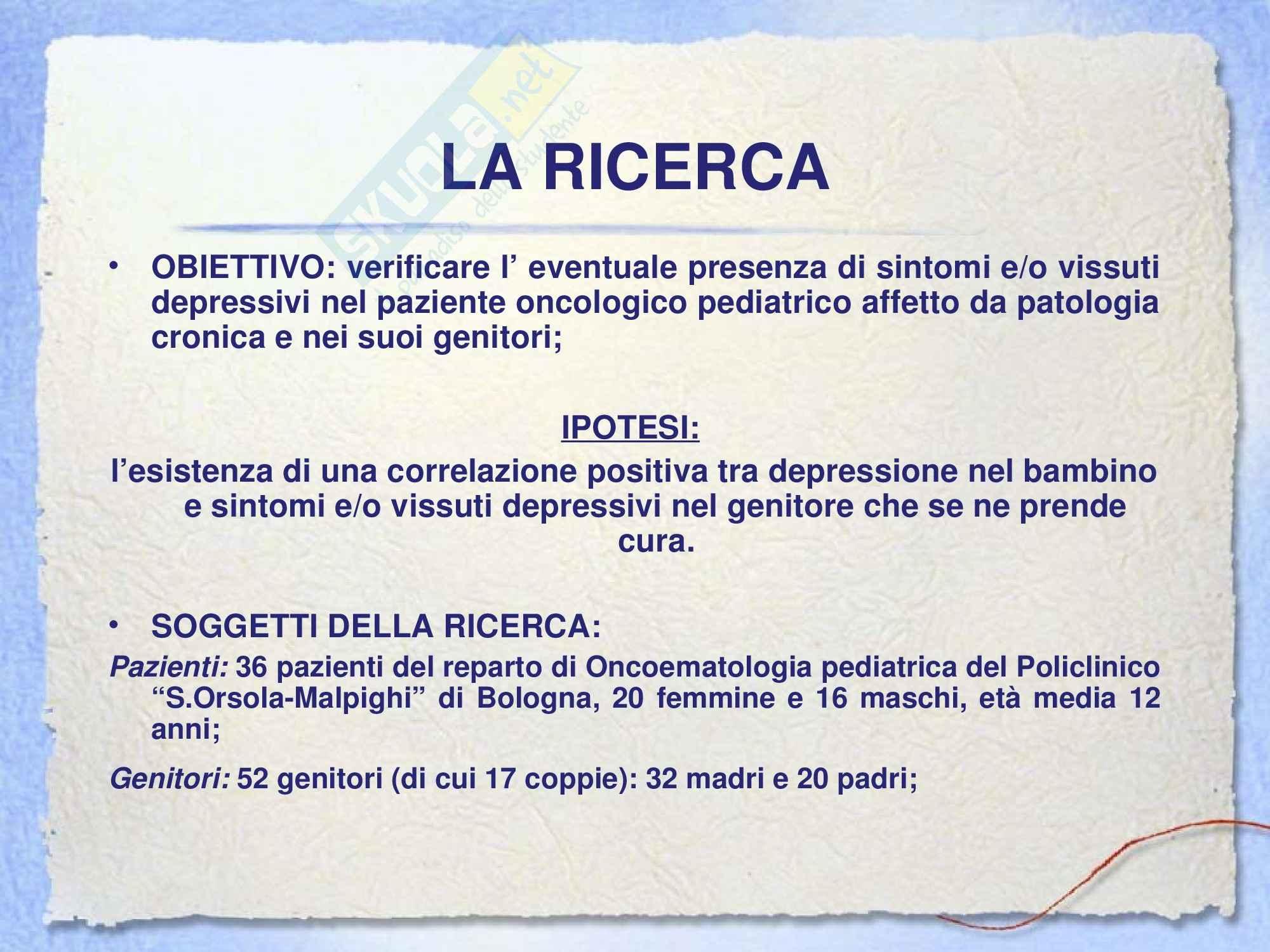 Psicologia dello sviluppo - il vissuto depressivo nella famiglia del paziente oncologico pediatrico affetto da patologia cronica Pag. 2
