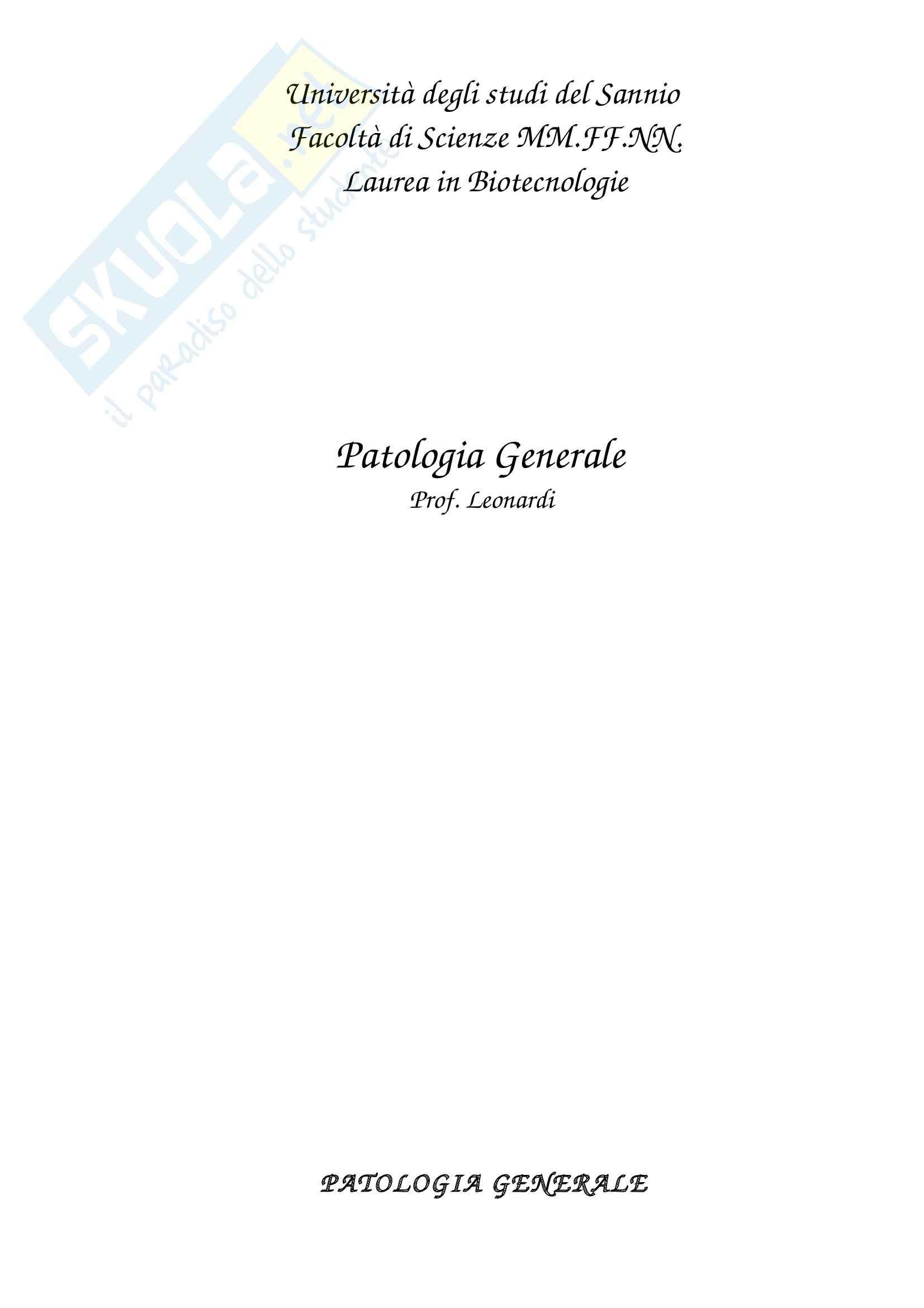 Lezioni, Patologia Generale