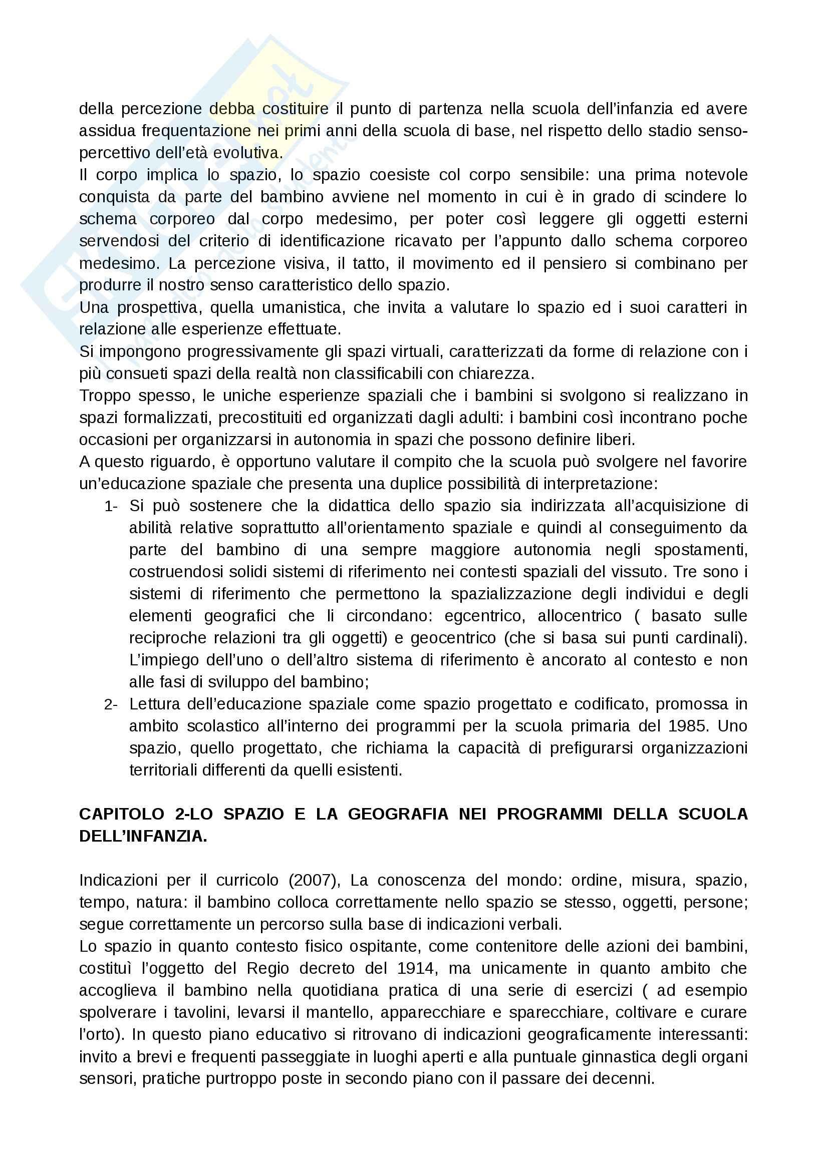 Riassunto esame Geografia, prof. Vecchio, libro consigliato Infanzia, spazio e geografia, Guaran Pag. 2
