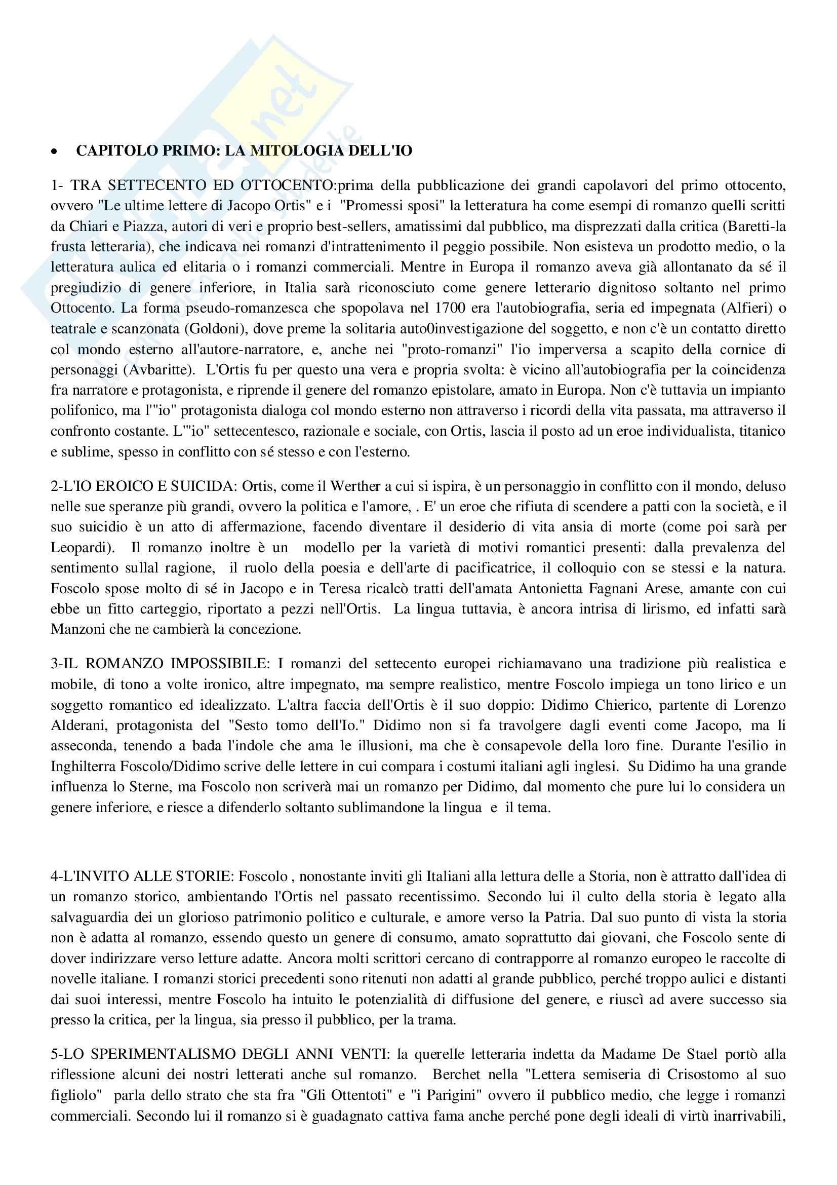 Riassunto esame Letteratura italiana, prof. Nozzoli, libro consigliato Il romanzo italiano dell'Ottocento e Novecento, Tellini