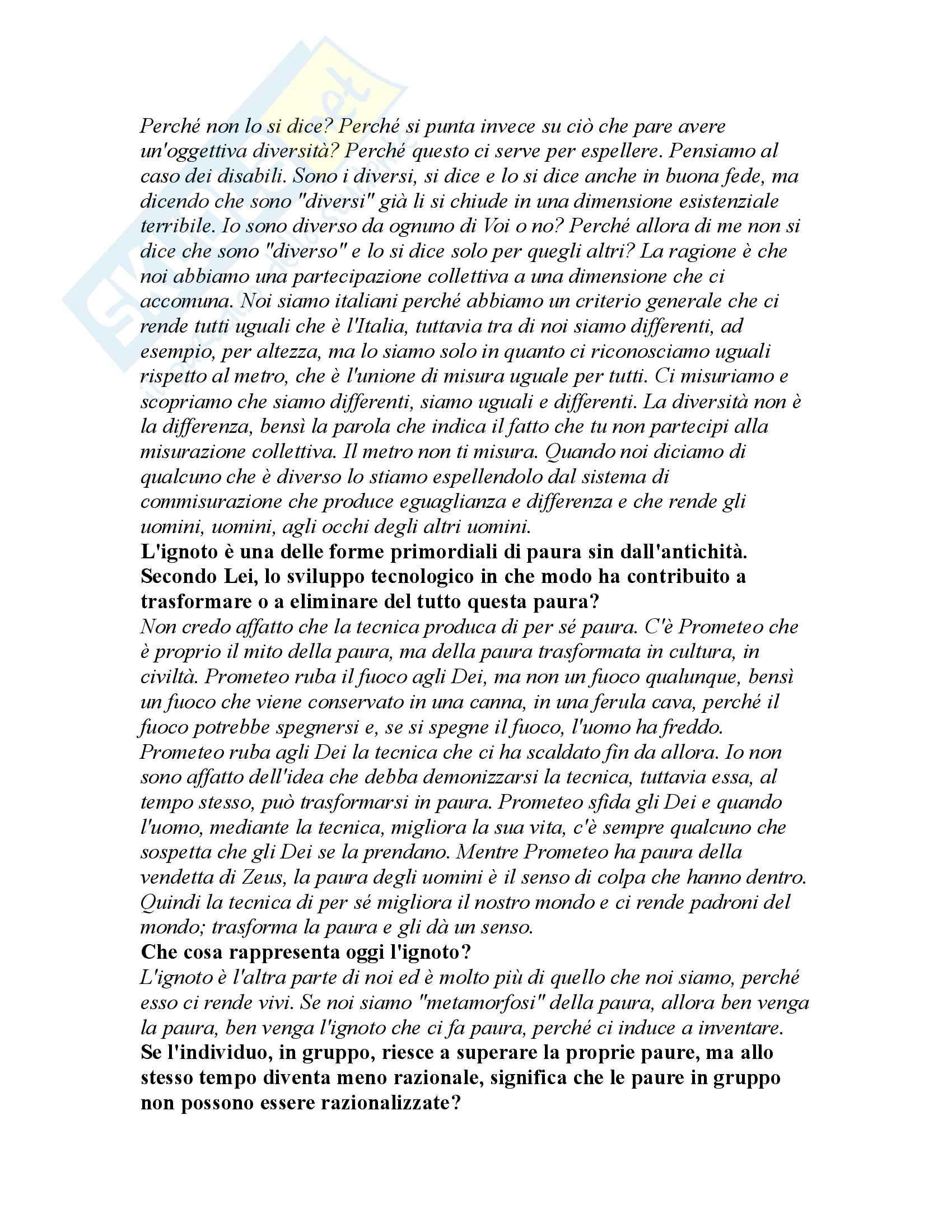 Riassunto esame Filosofia Politica, prof. Escobar, libro consigliato Metamorfosi della Paura Pag. 56