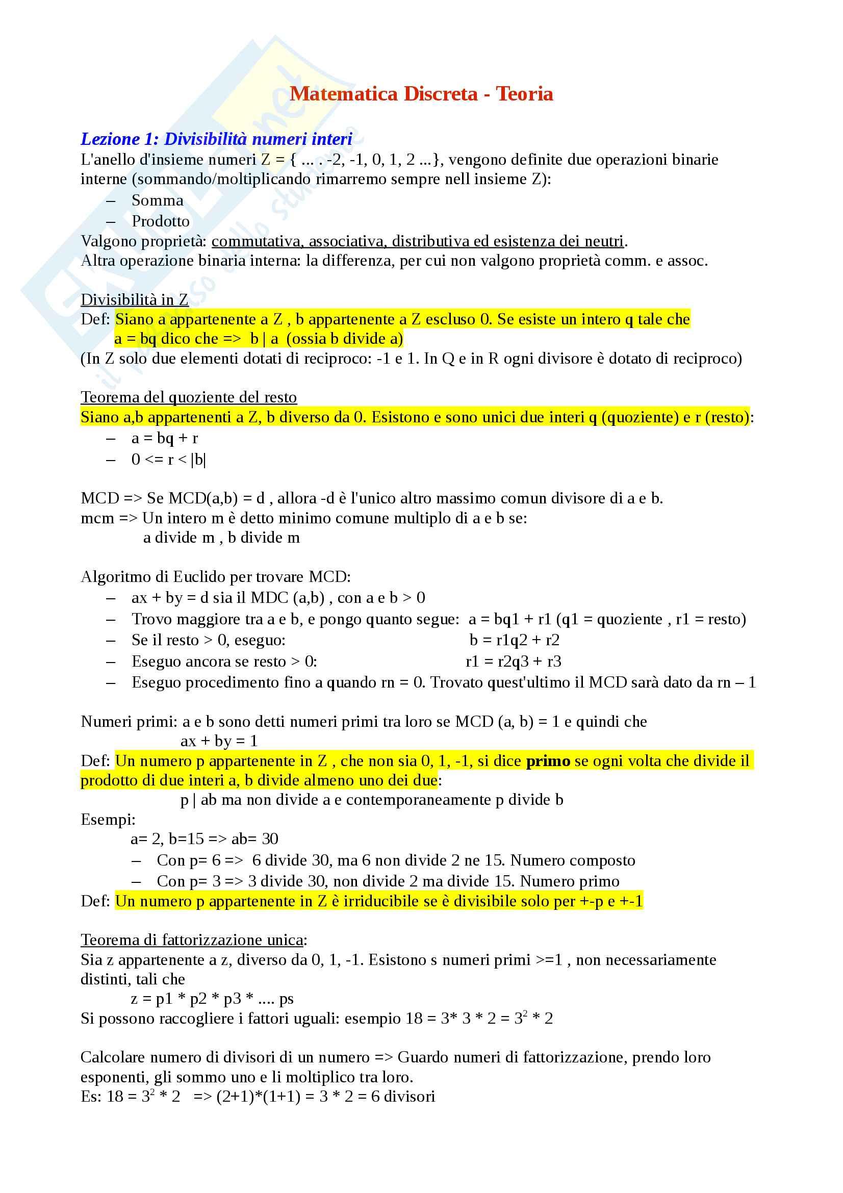 Matematica Discreta - Algebra