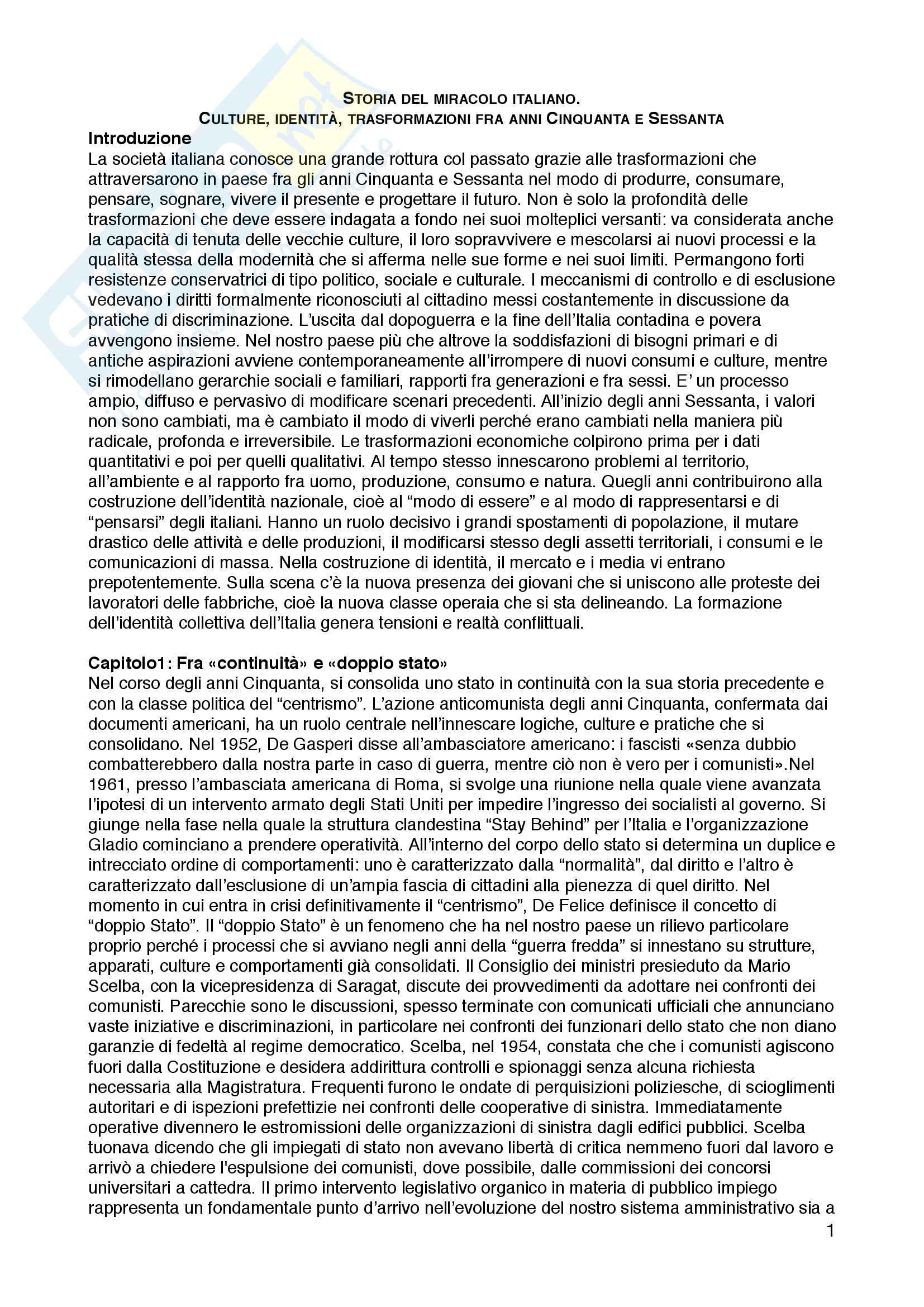 """Riassunto esame Sociologia dell'educazione, prof. Andrea Spini, libro consigliato """"Storia del miracolo italiano. Culture, identità, trasformazioni fra anni Cinquanta e Sessanta"""", Guido Crainz"""