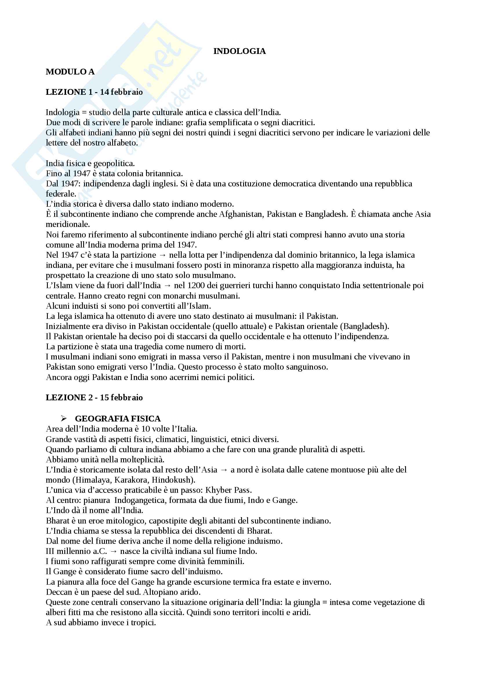 Riassunto per esame di indologia, prof. Pieruccini