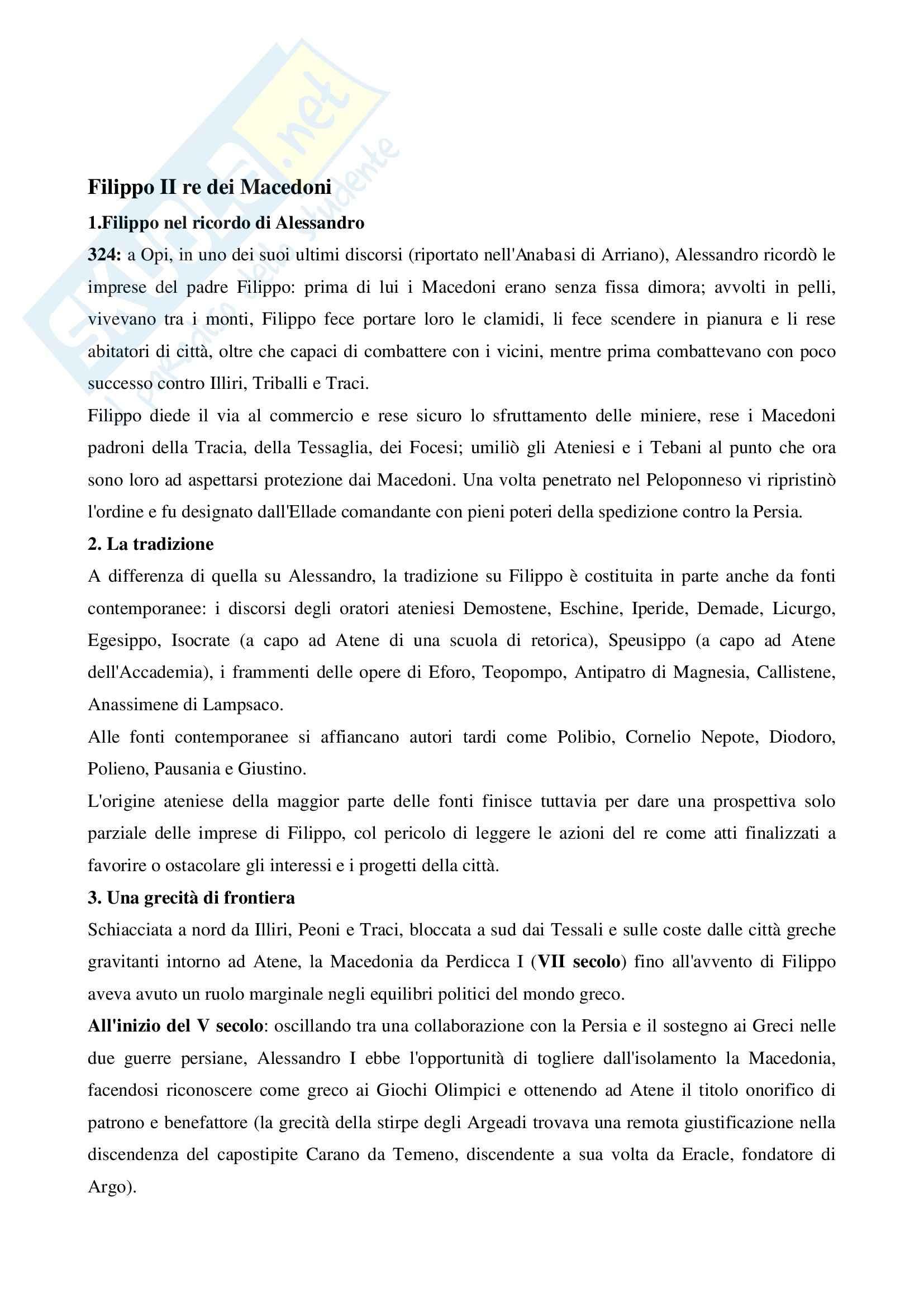 Riassunto esame Storia greca, prof. Antonetti, libro consigliato Filippo il Macedone, Squillace