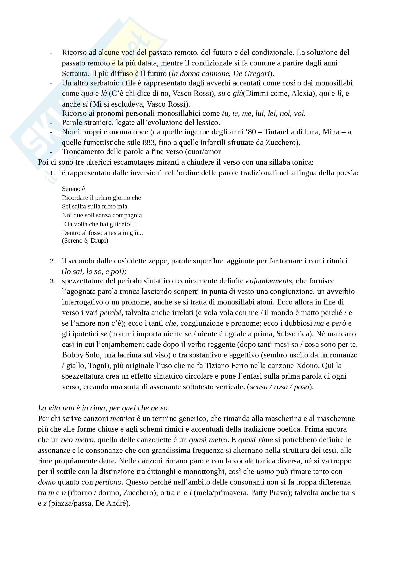 Riassunto esame Linguistica dei media, prof. Bonomi, libro consigliato Ma cosa vuoi che sia una canzone, Antonelli Pag. 6