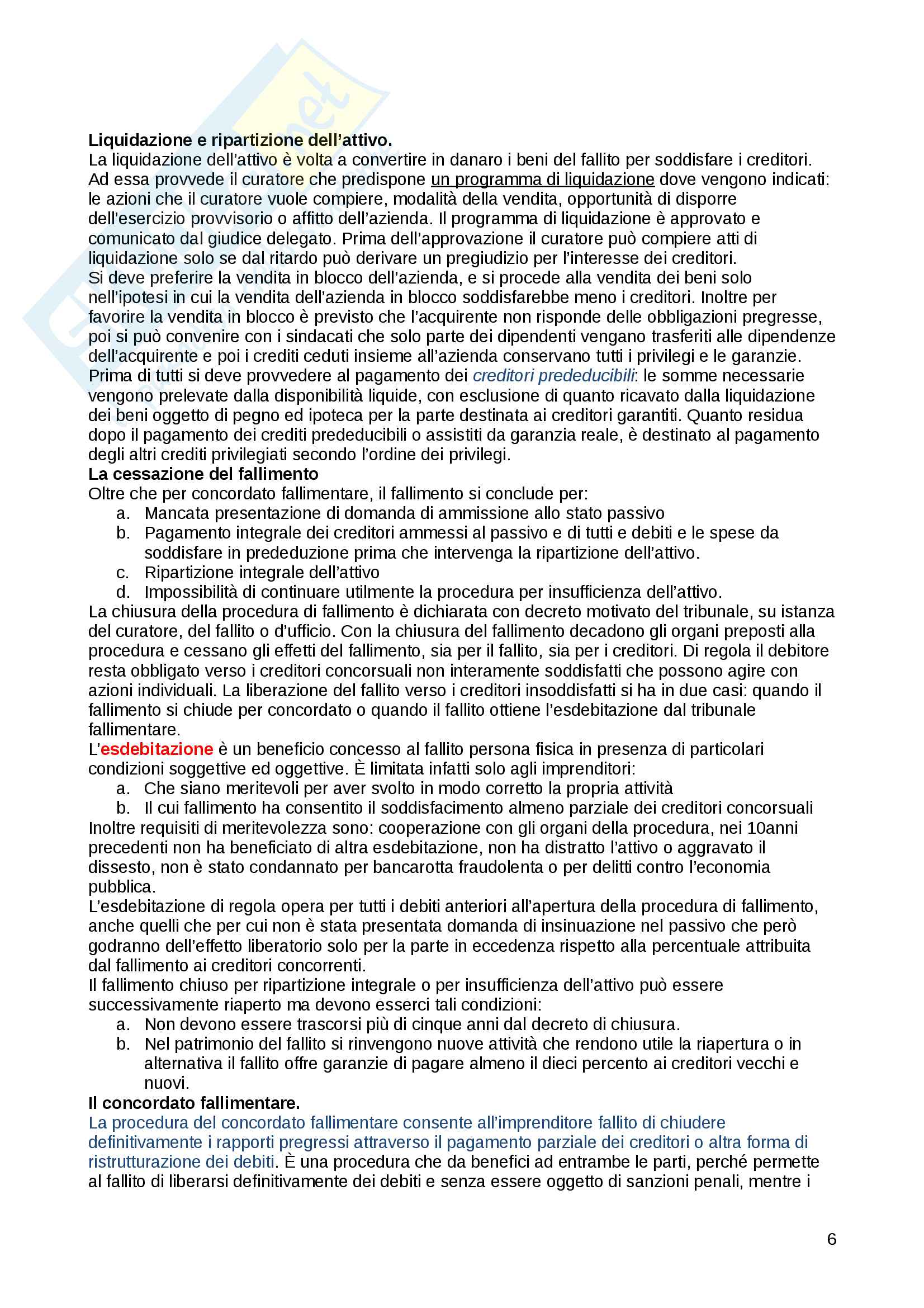 Appunti Fallimento e concordato preventivo - prof Blandini - diritto commerciale Pag. 6