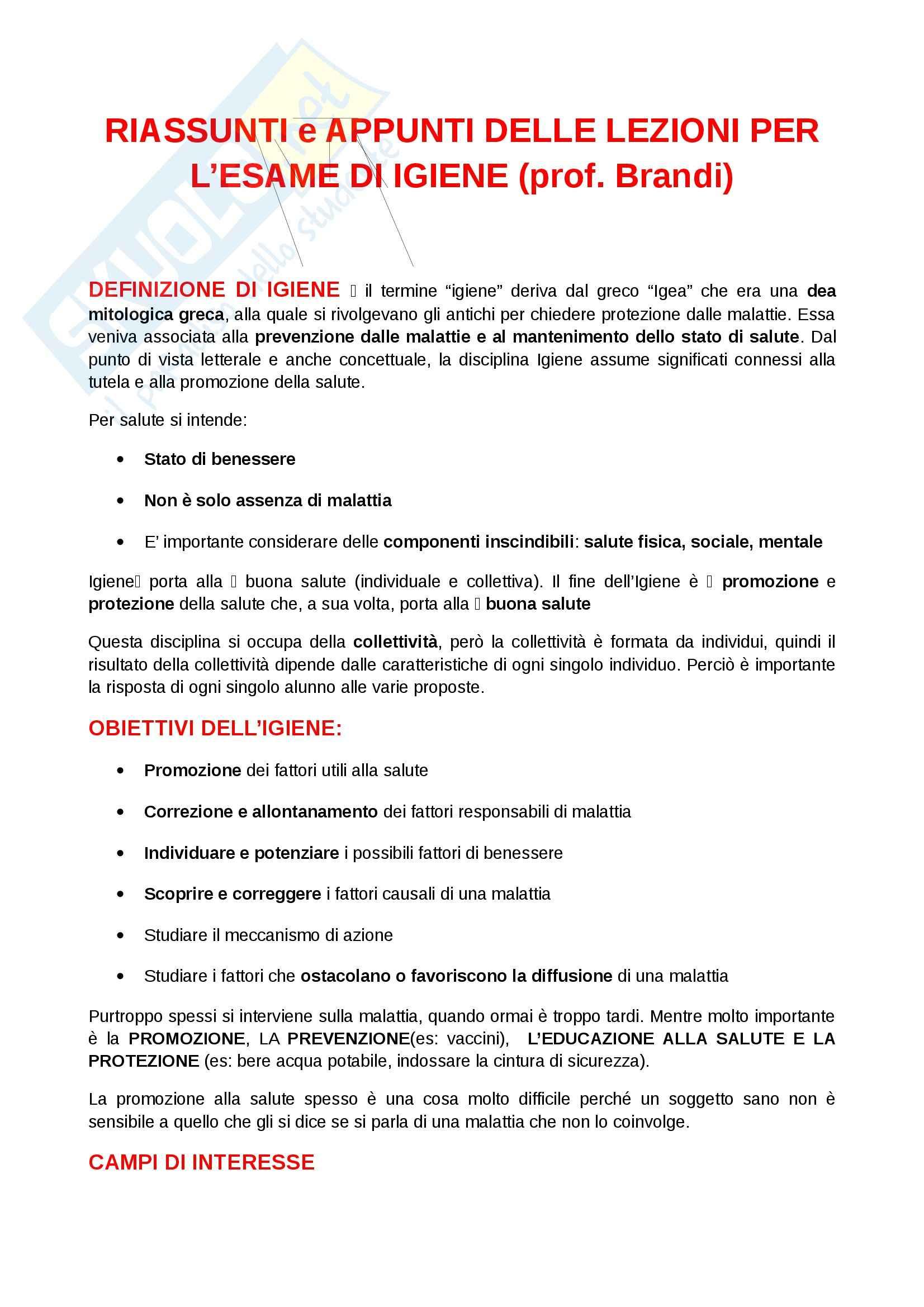 Igiene e sanità pubblica per le scienze motorie  - Appunti