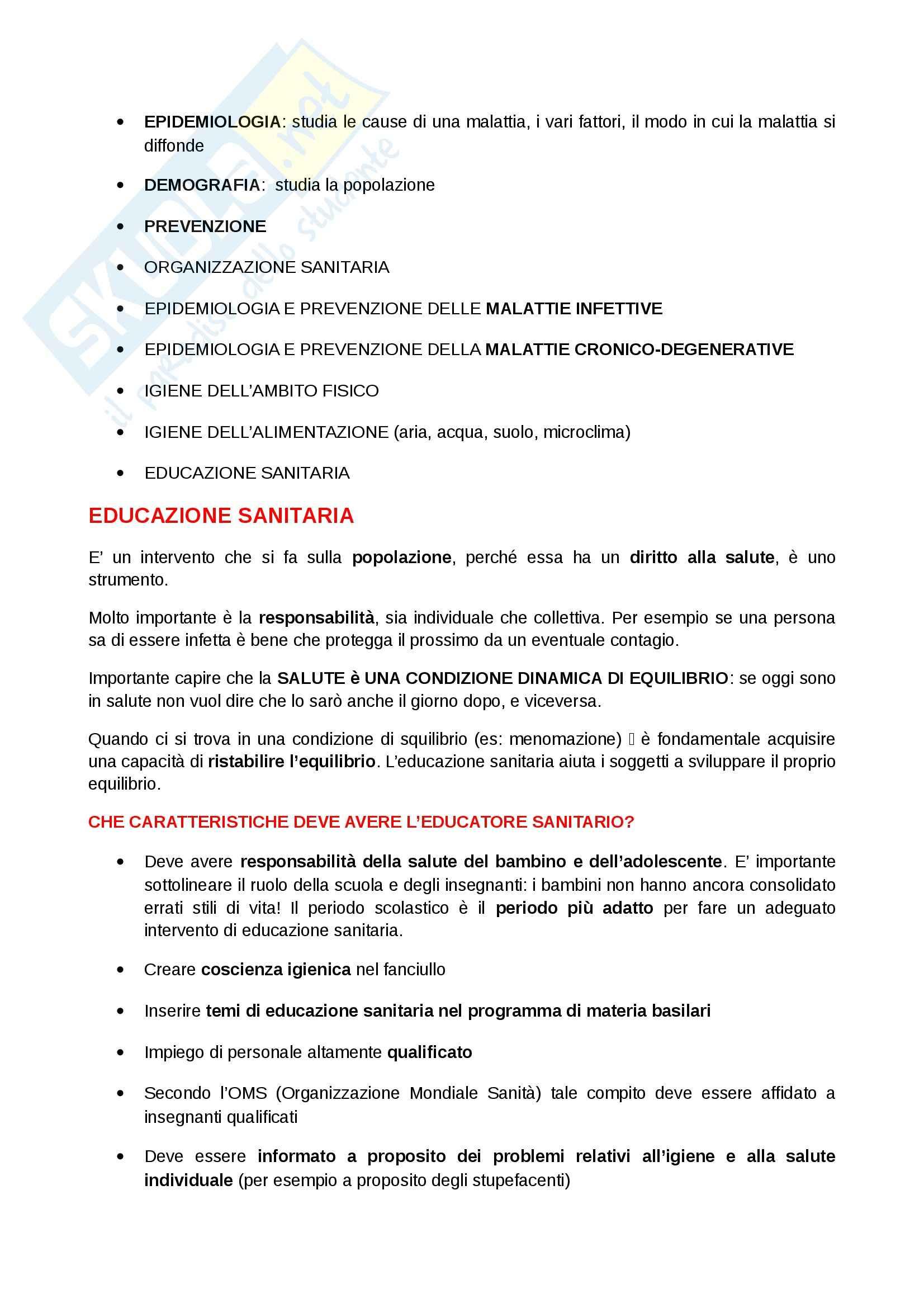 Igiene e sanità pubblica per le scienze motorie  - Appunti Pag. 2