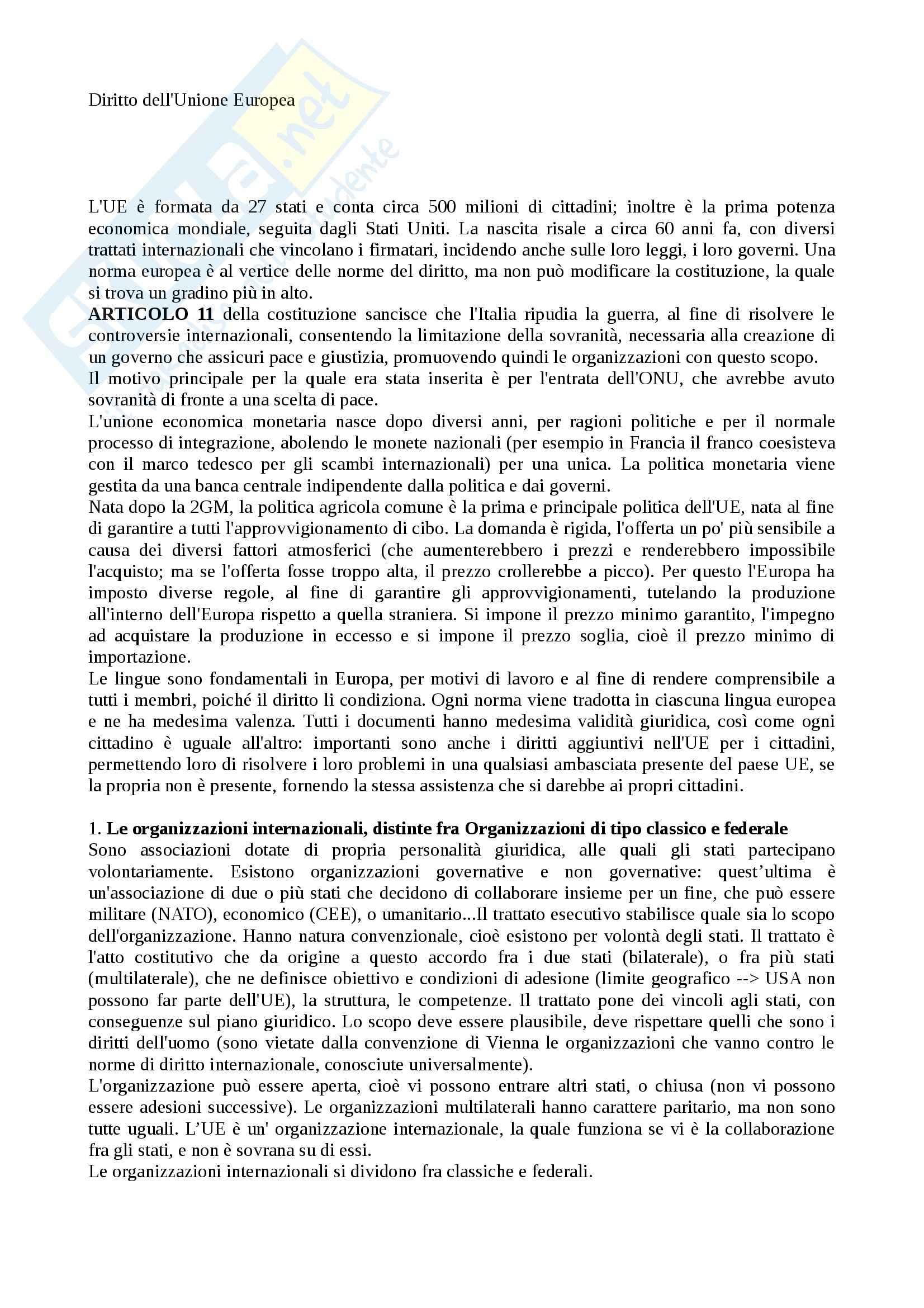 Riassunto esame Diritto dell'Unione Europea, prof. Pusillo, libro consigliato Diritto dell'Unione Europea