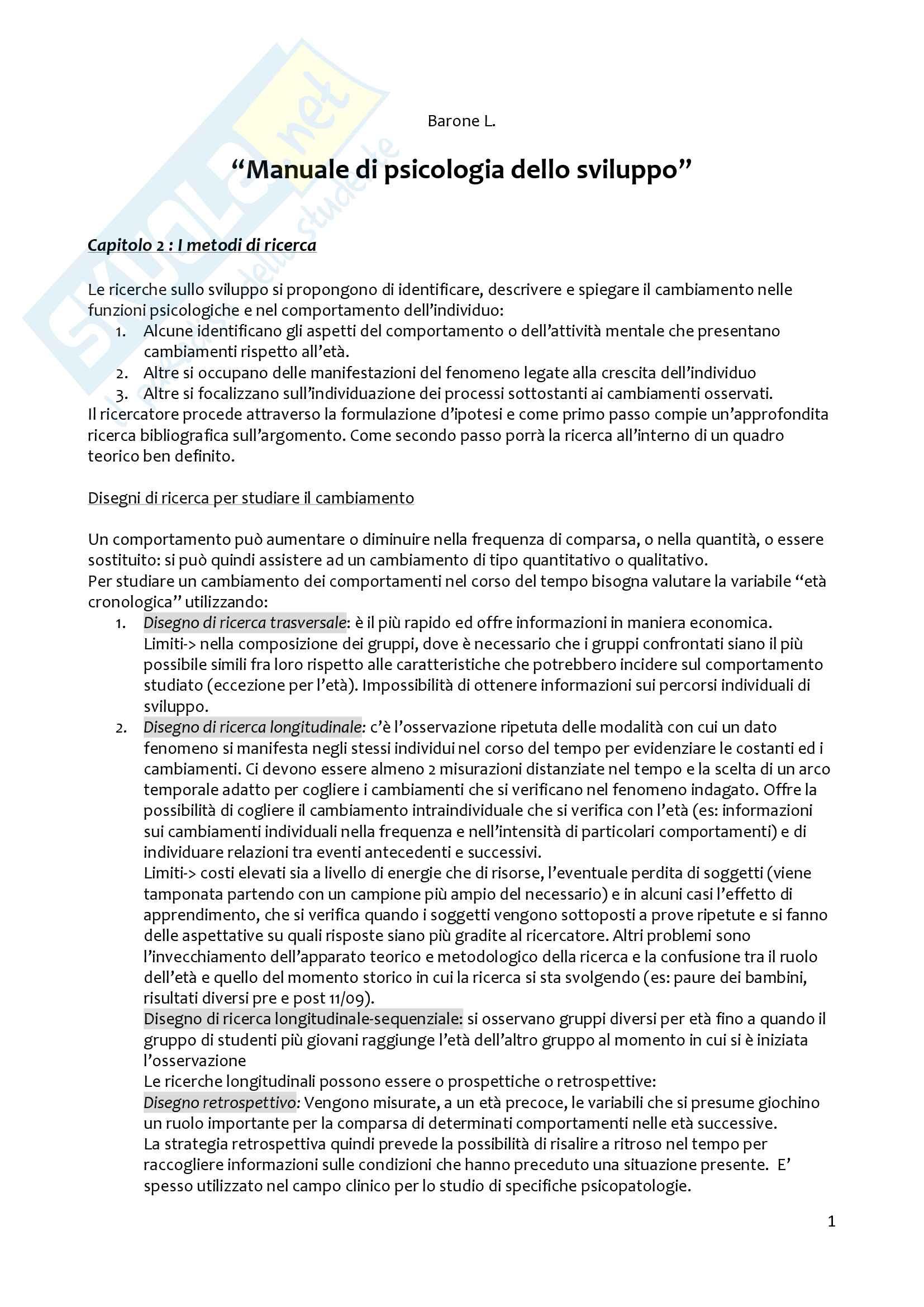 Riassunto esame Psicologia dello sviluppo, prof. Raccanello, libro consigliato Manuale di Psicologia dello Sviluppo, Barone L. (2009)
