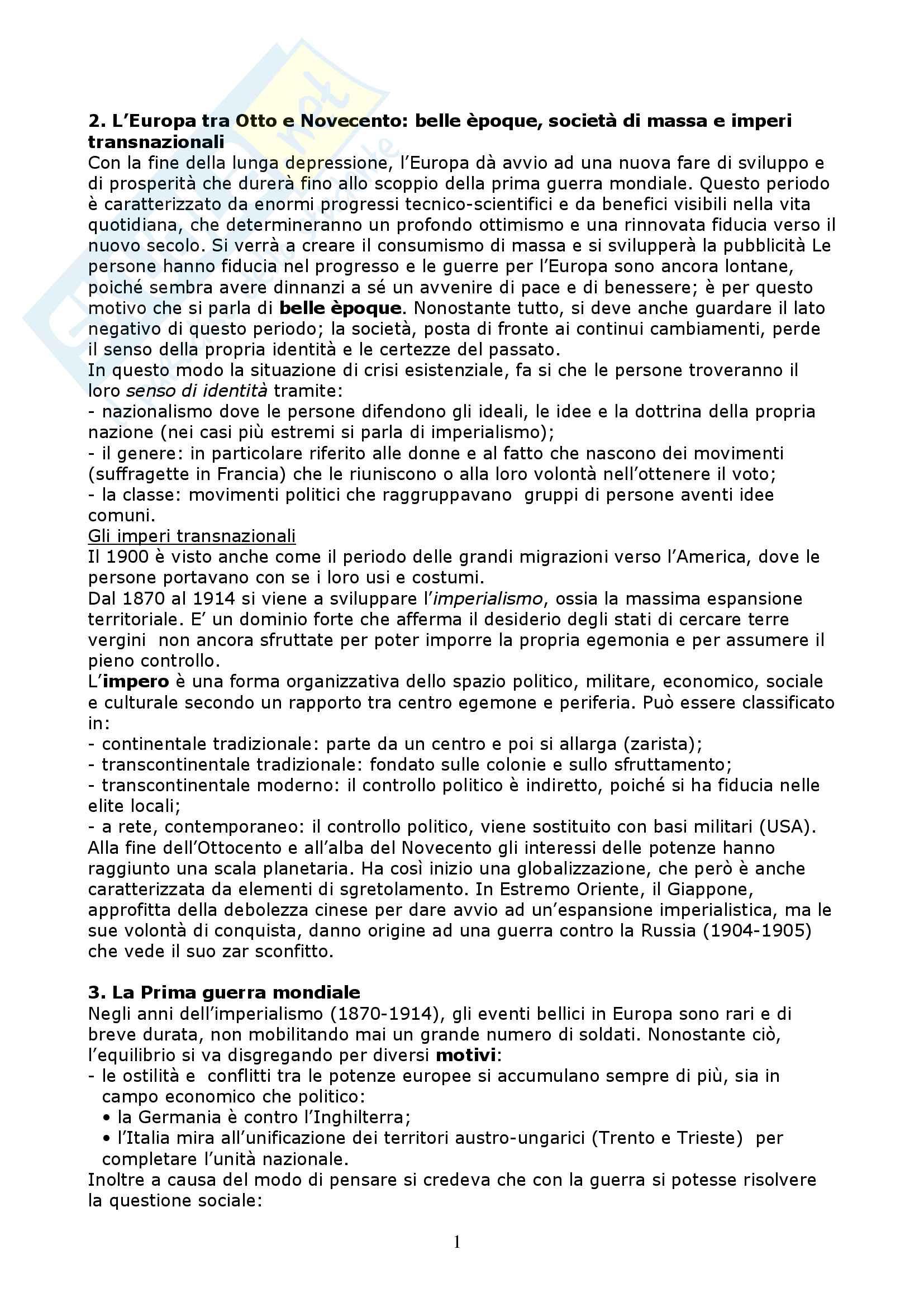Appunti di Storia contemporanea, prof. Maccarini