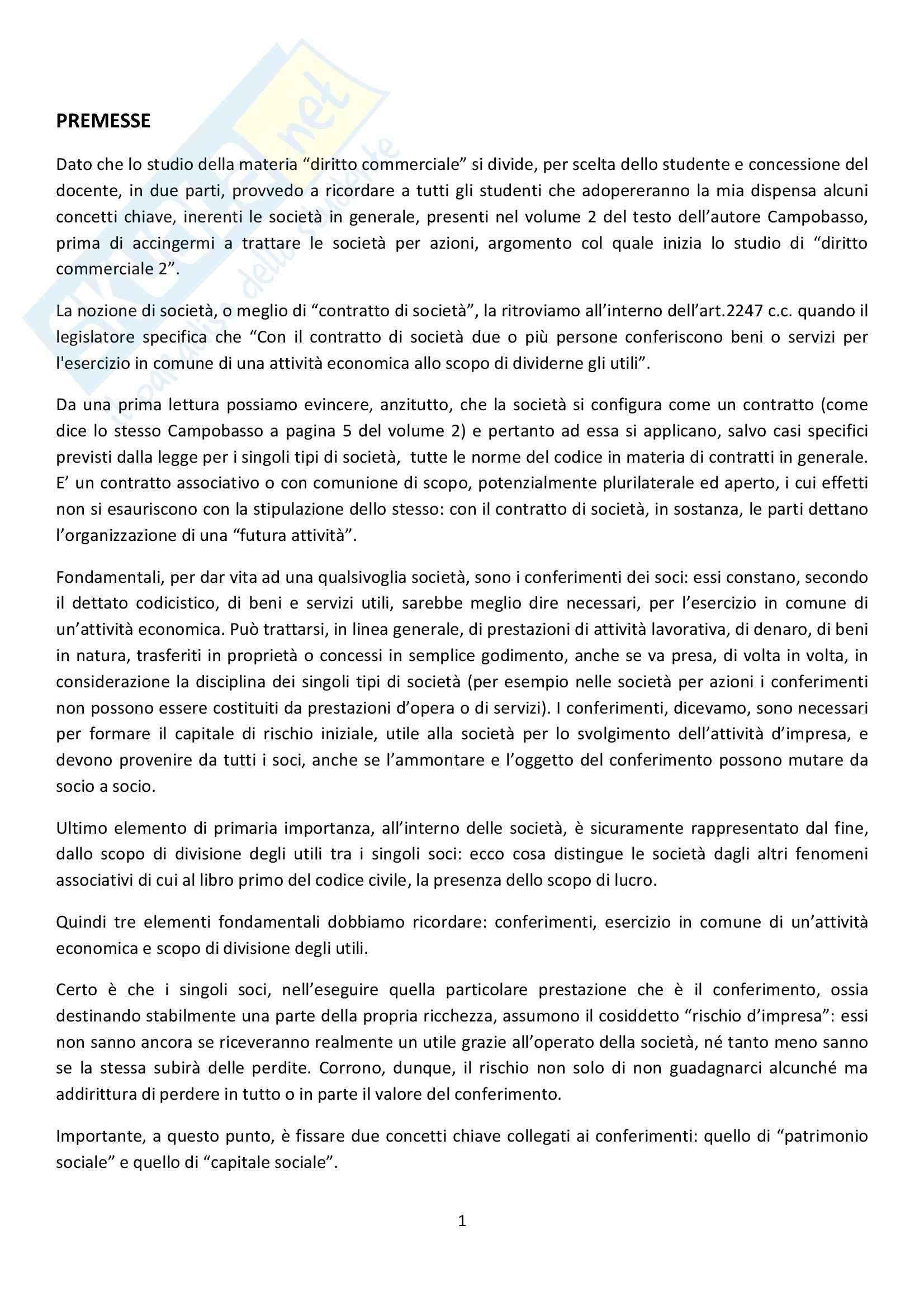 Riassunto esame Diritto Commerciale, prof. Patroni, libro consigliato di Campobasso