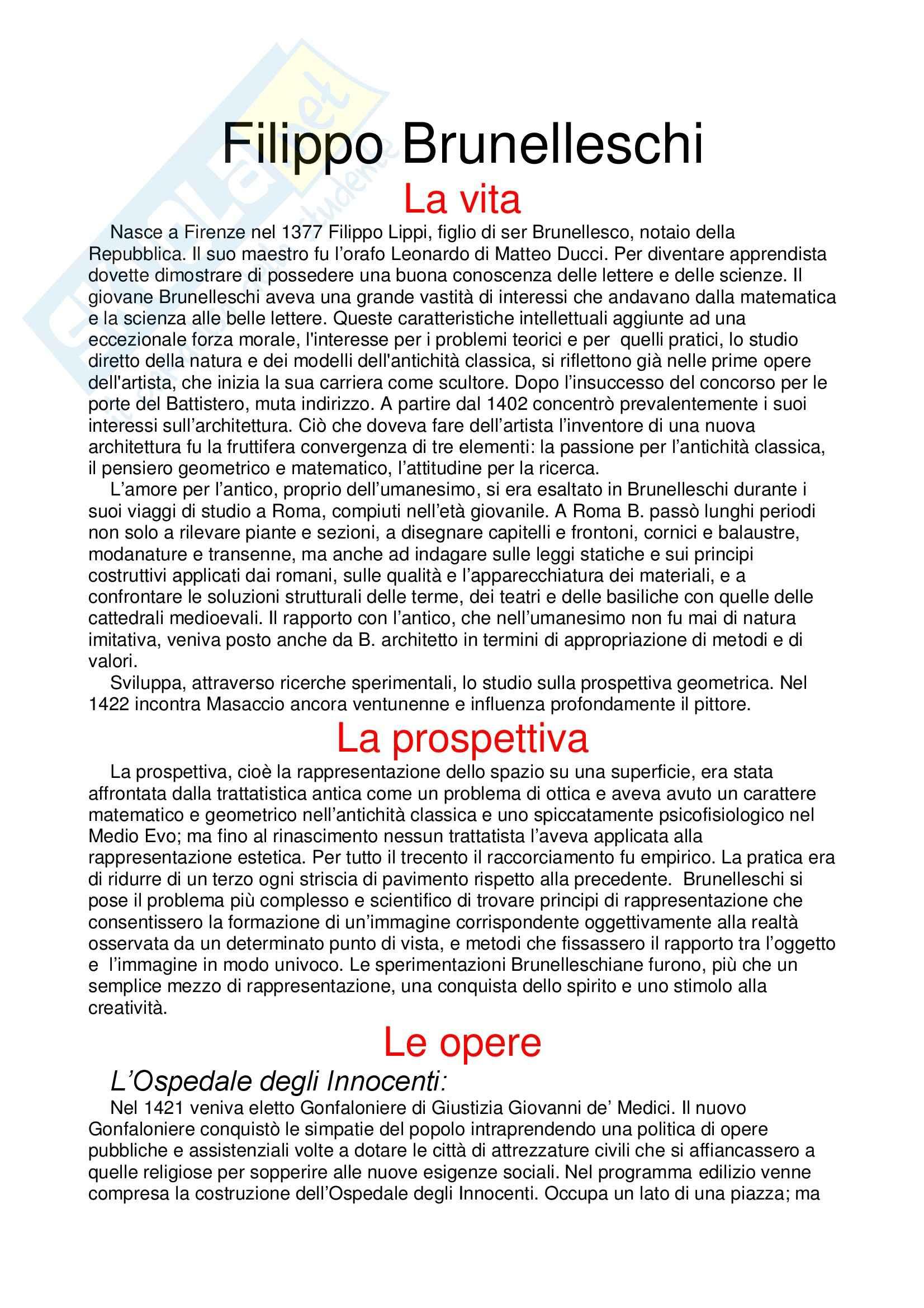 Storia dell'architettura moderna - la cupola del Brunelleschi - Appunti