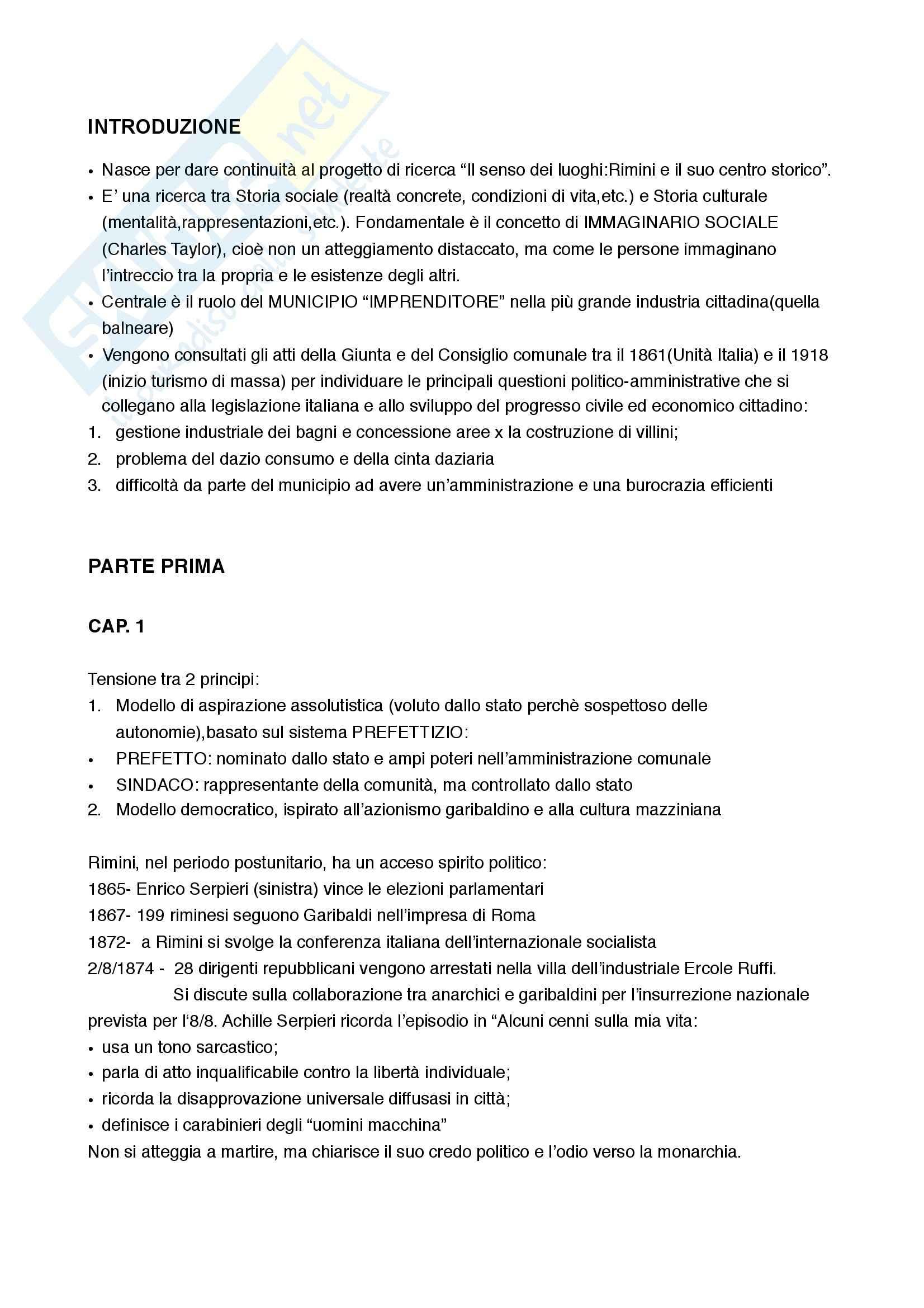 Riassunto esame Storia Contemporanea, prof. Calanca, libro consigliato Ville al Mare tra Romagna e Italia, Ravara Montebelli