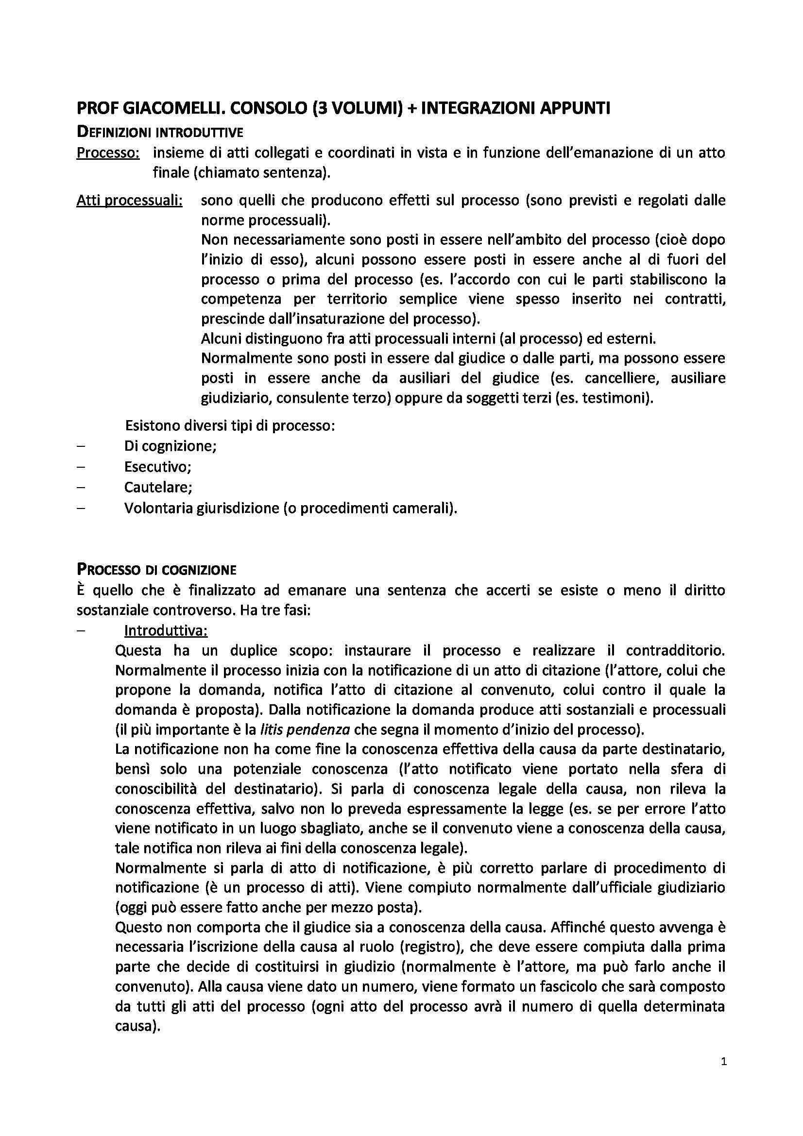 Riassunto esame Diritto Processuale Civile, prof. Giacomelli, libro consigliato Consolidazione diritto procedura civile I 2013