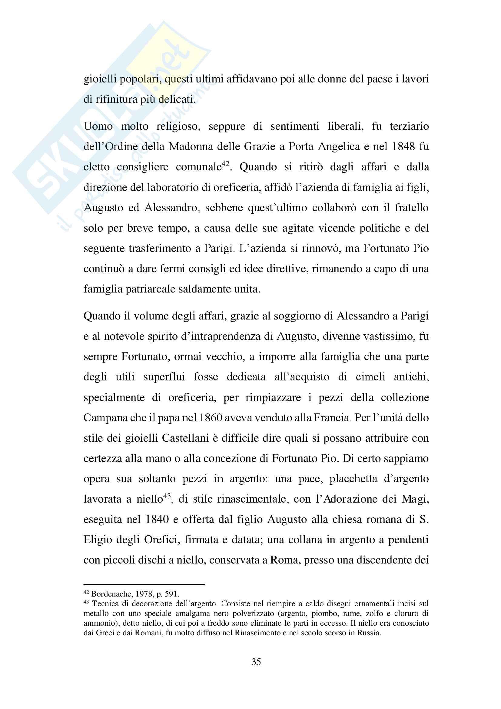 Oreficerie Castellani: Tesi di laurea sull'oreficeria dell'800 storia e tecniche artistiche Pag. 36