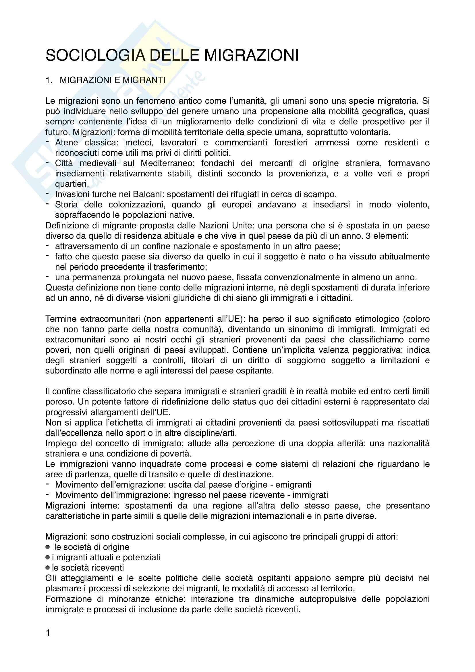 Riassunto esame di Sociologia delle Migrazioni, prof. Osti, libro consigliato Sociologia delle migrazioni, Ambrosini