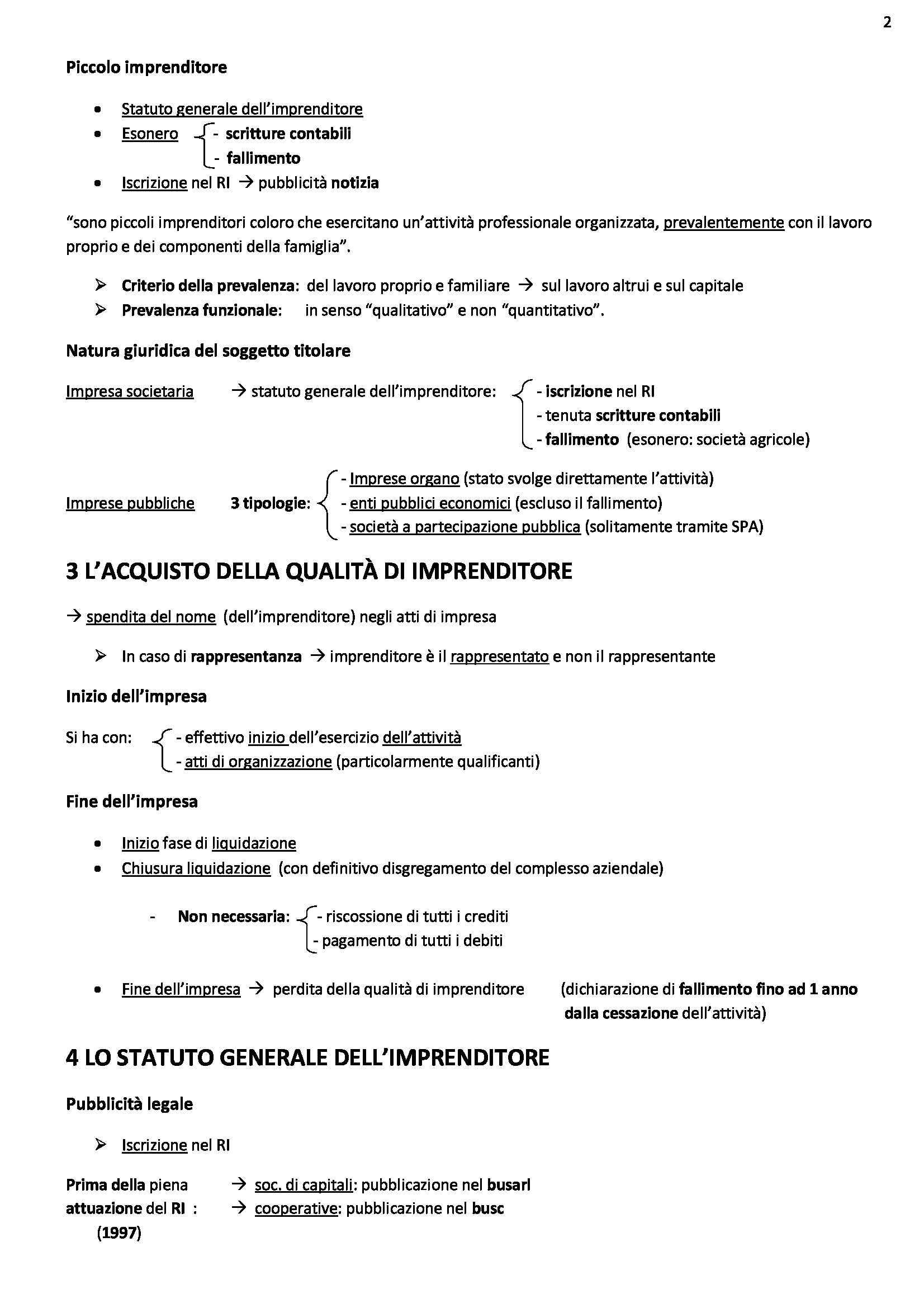 Riassunto esame Diritto commerciale, prof. Ghezzi, libro consigliato Diritto commerciale, Campobasso, VOL.1 Pag. 2