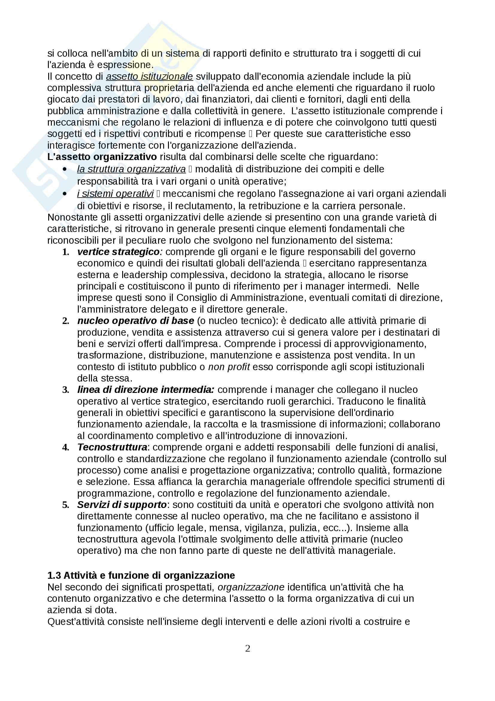 Riassunto esame per l'esame di Organizzazione Aziendale, prof. Conti, libro consigliato Manuale di organizzazione aziendale, Gianfranco Rebora Pag. 2