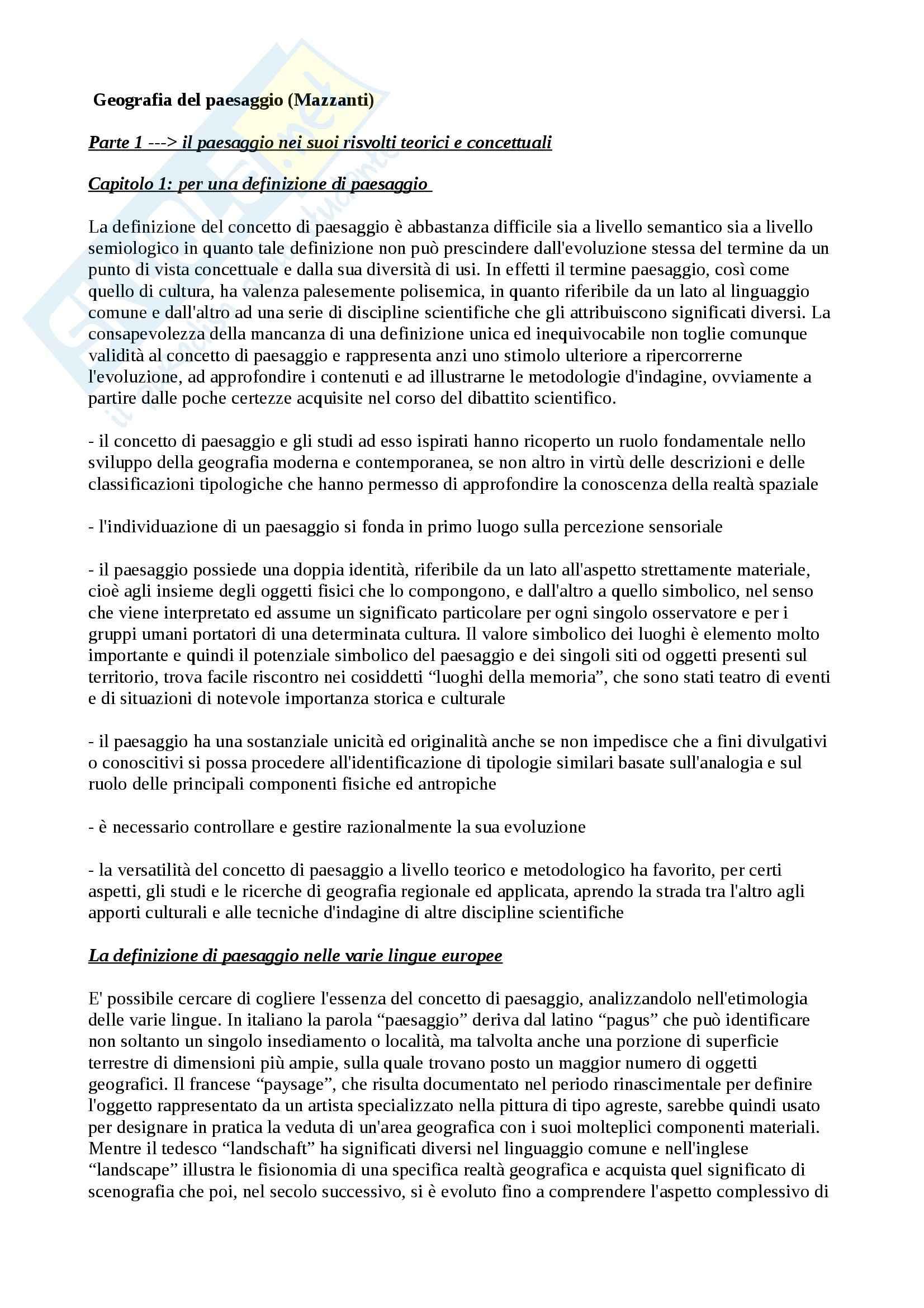 Riassunto esame Geografia, prof. Mazzanti, libro consigliato Geografia del paesaggio, Mazzanti