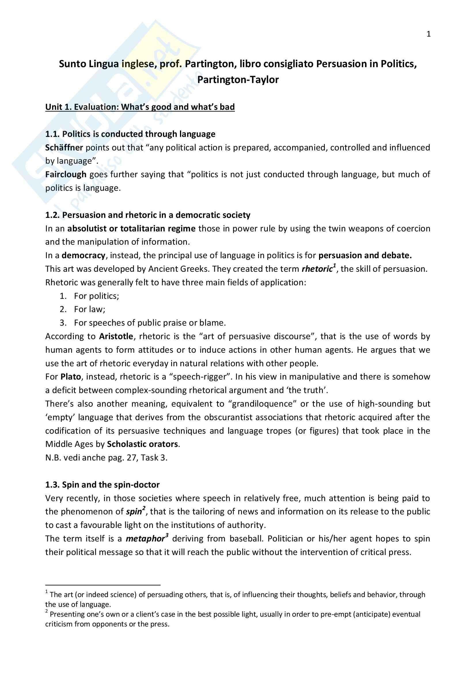Riassunto esame Lingua inglese, prof. Partington, libro consigliato Persuasion in Politics, Partington, Taylor