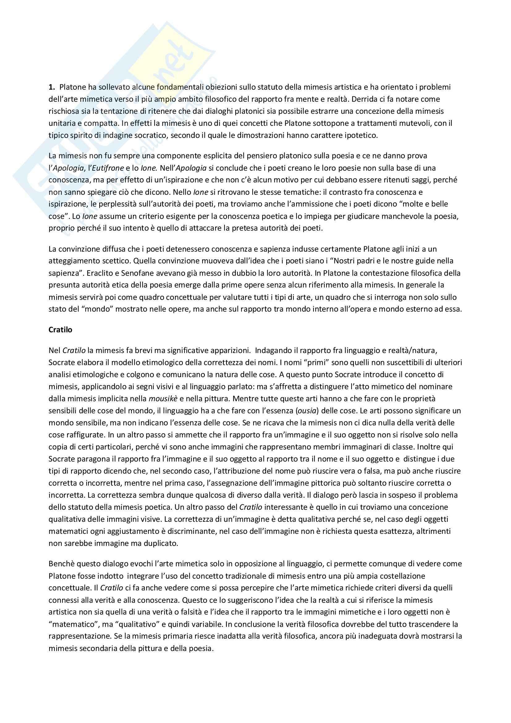 Riassunto esame Estetica, prof. Cappelletto, libro consigliato L'estetica della mimesis: Testi antichi e problemi moderni, Halliwell