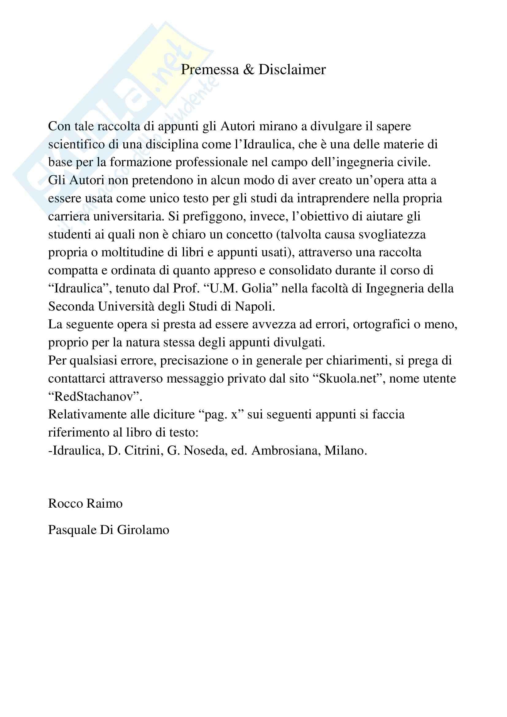 Idraulica - Appunti