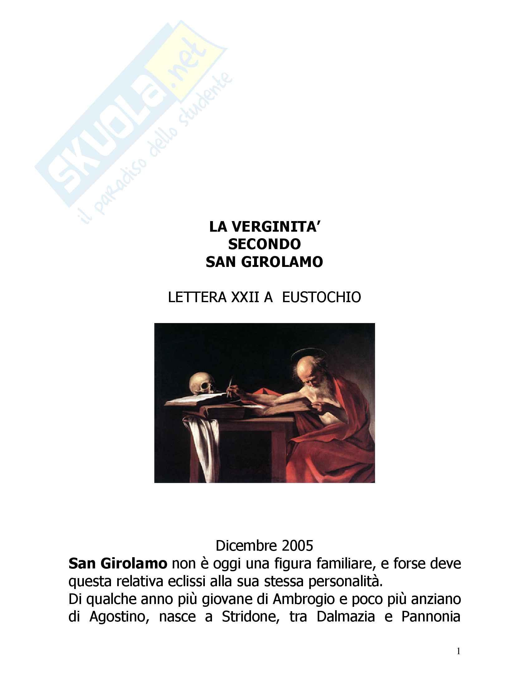 San Girolamo: Lettera XXII a Eustochio, Vita, Pensiero, Filosofia, Discorso sulla verginità e Epistolario