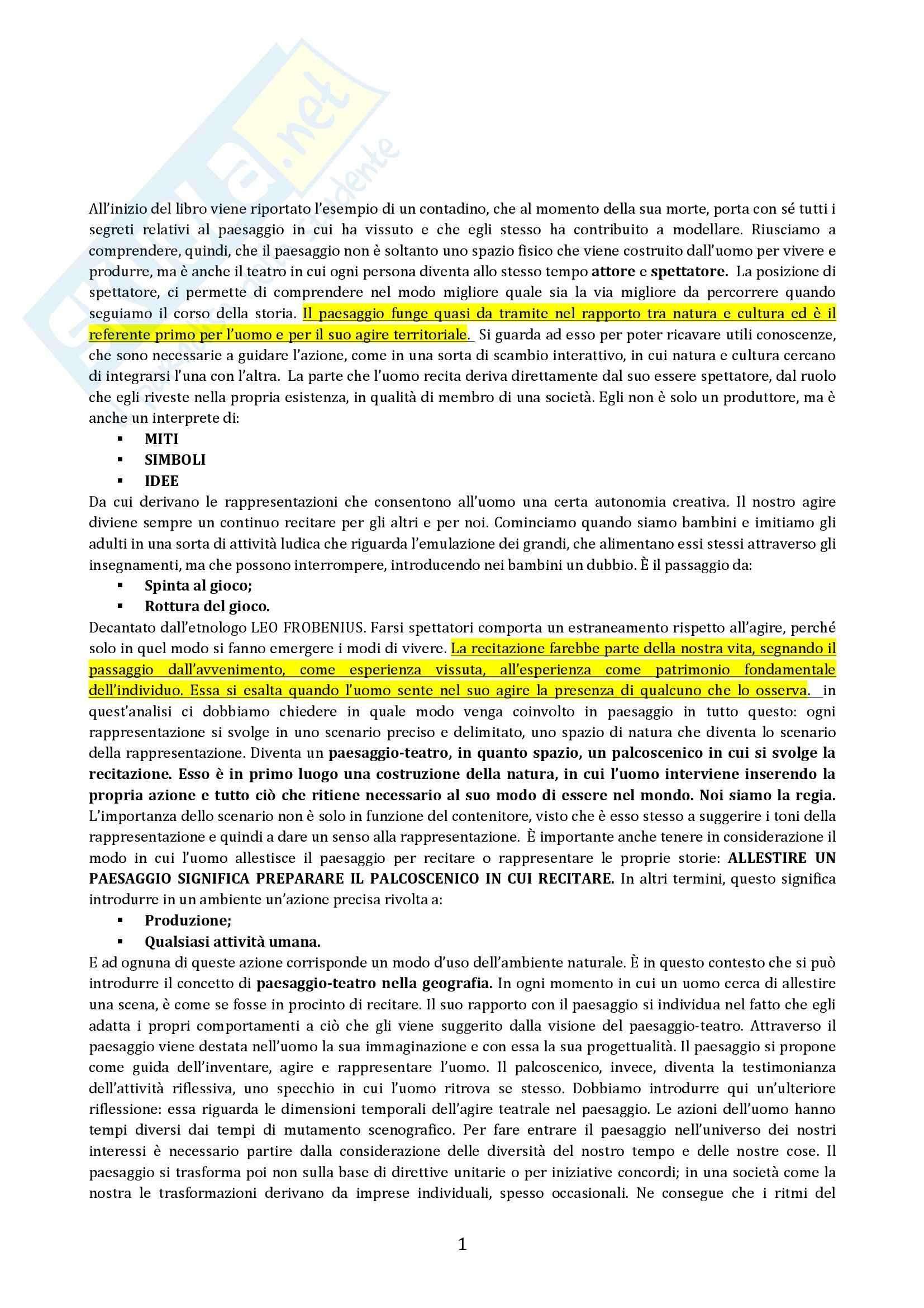 Riassunto esame Geografia, prof. Micelli, libro consigliato Il Paesaggio Come Teatro, Turri