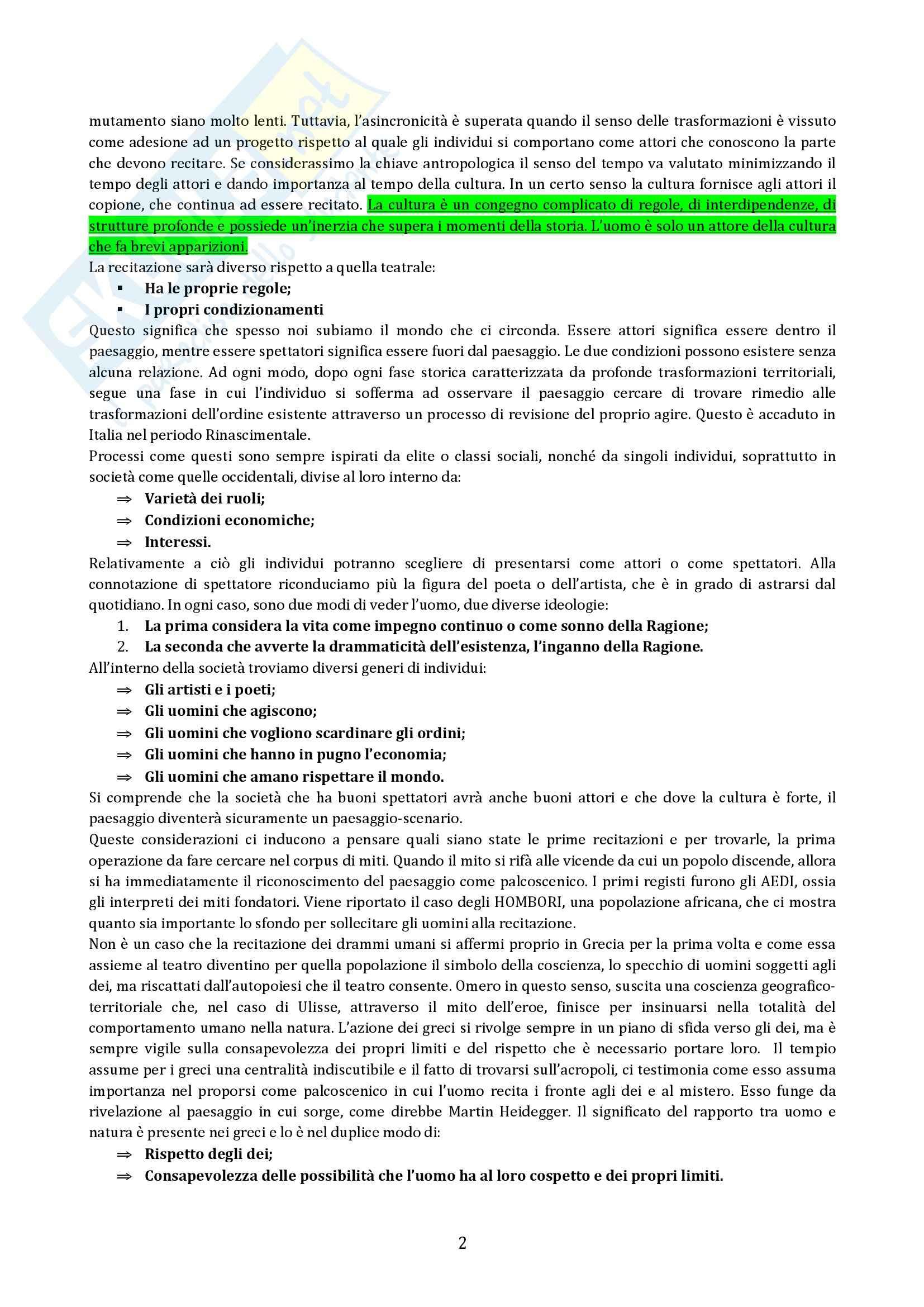 Riassunto esame Geografia, prof. Micelli, libro consigliato Il Paesaggio Come Teatro, Turri Pag. 2