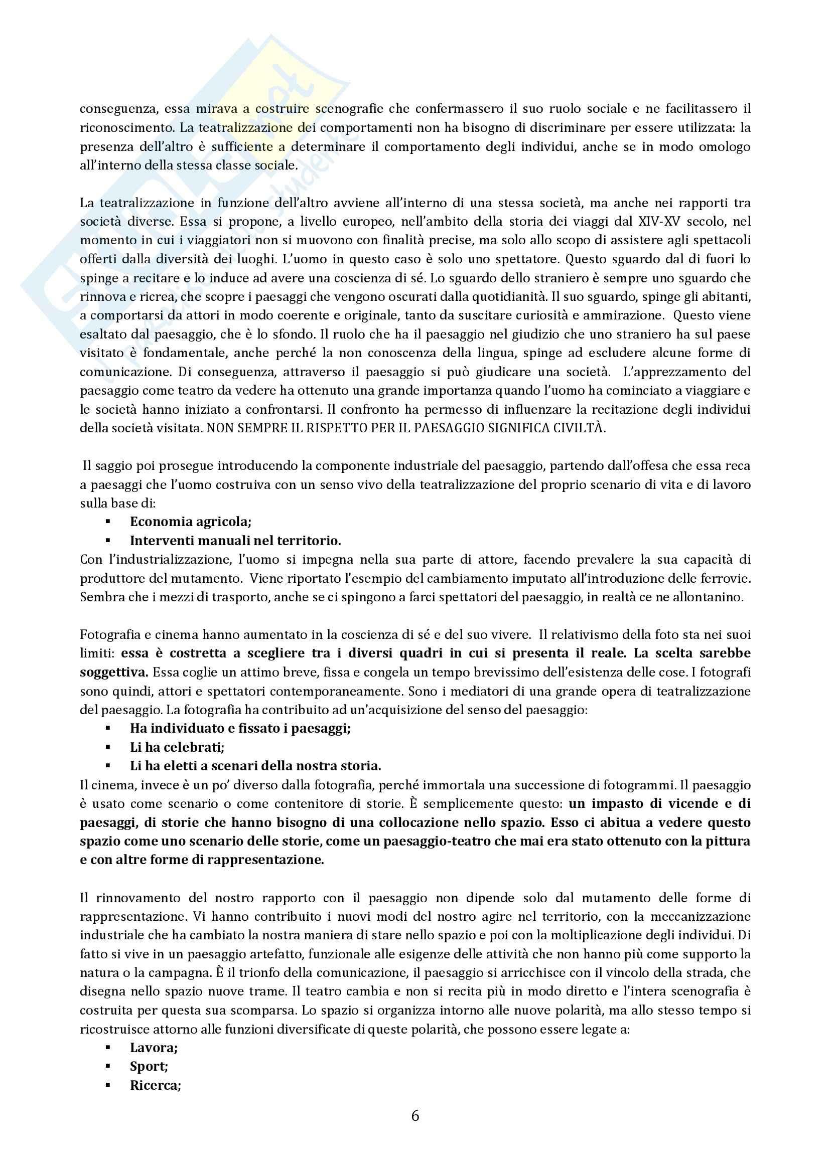 Riassunto esame Geografia, prof. Micelli, libro consigliato Il Paesaggio Come Teatro, Turri Pag. 6