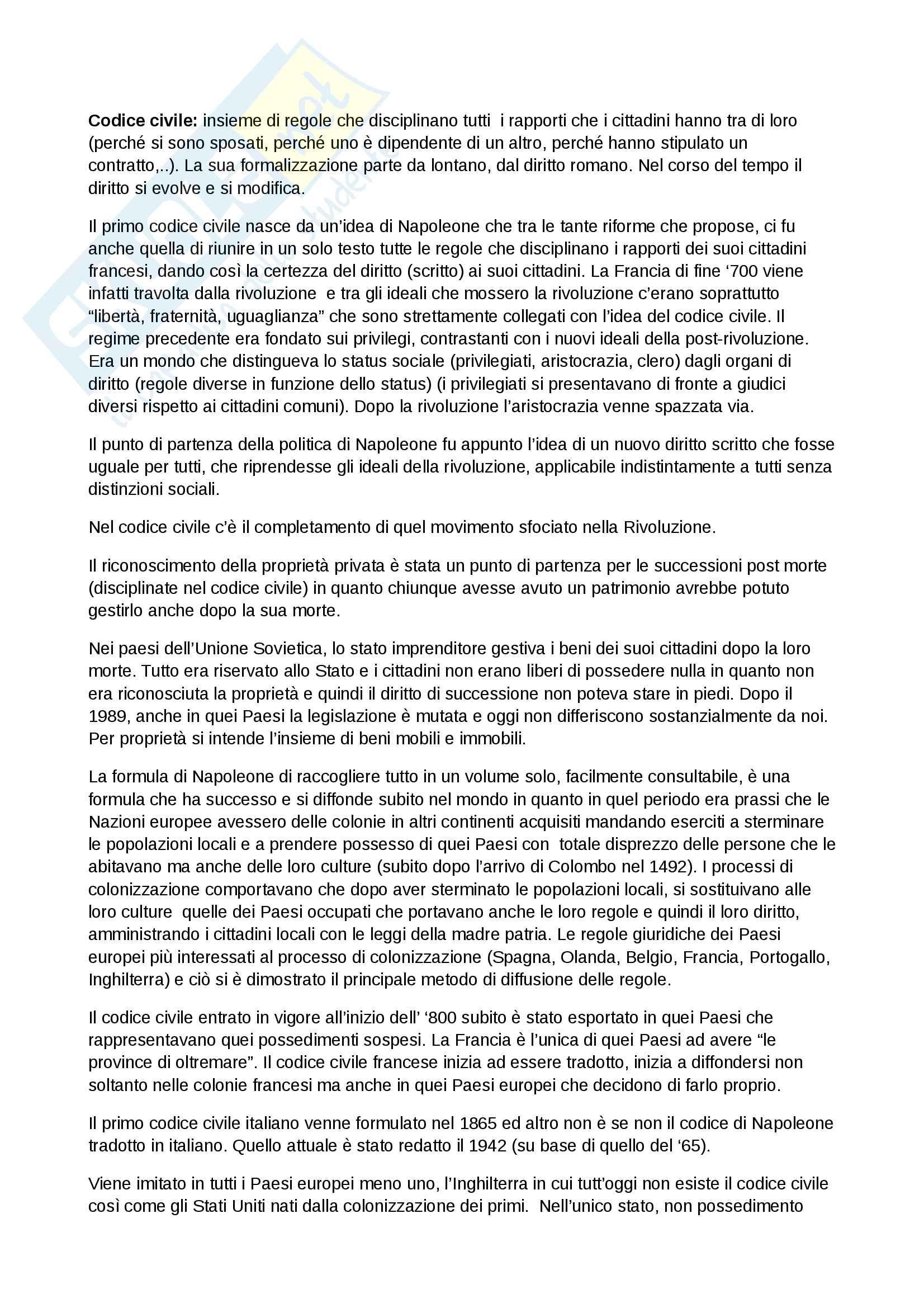 Appunti Diritto Privato 1° anno Economia Bicocca, prof Cesare Vaccà