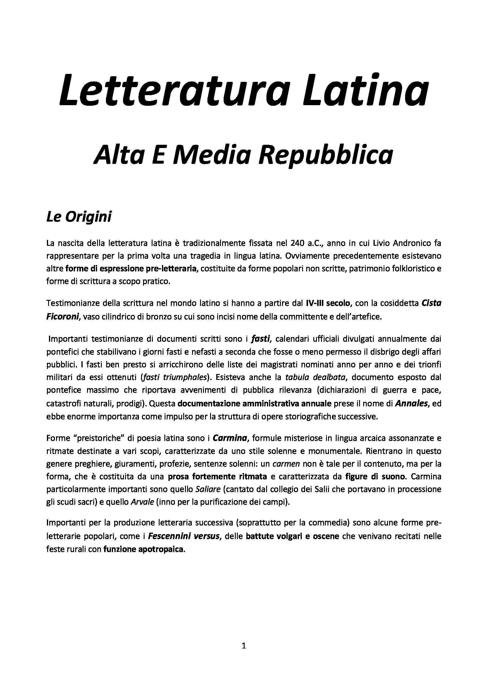 Riassunto esame Letteratura latina, prof. Delvigo, libro consigliato Storia della letteratura latina, Conte