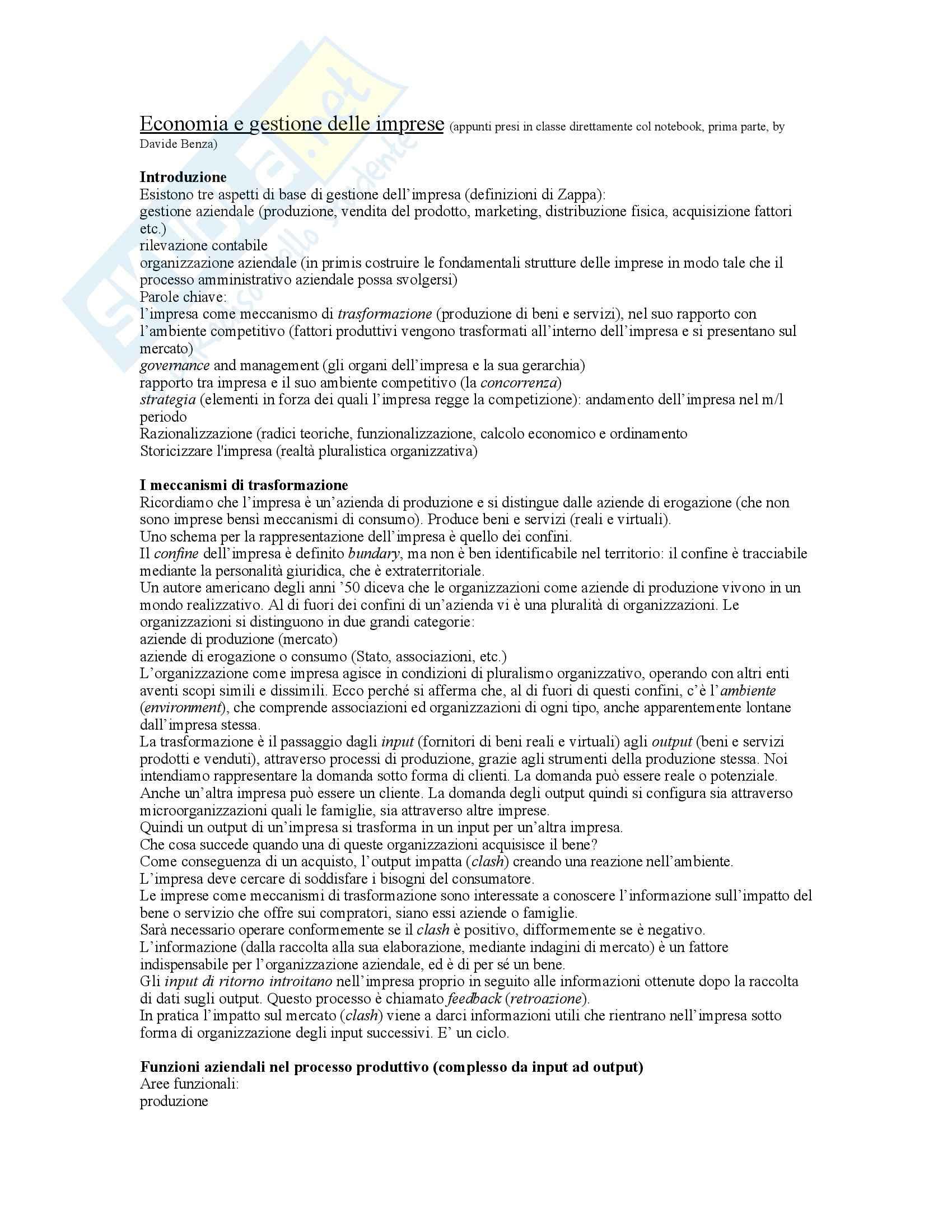 Economia e gestione delle imprese - Lezioni