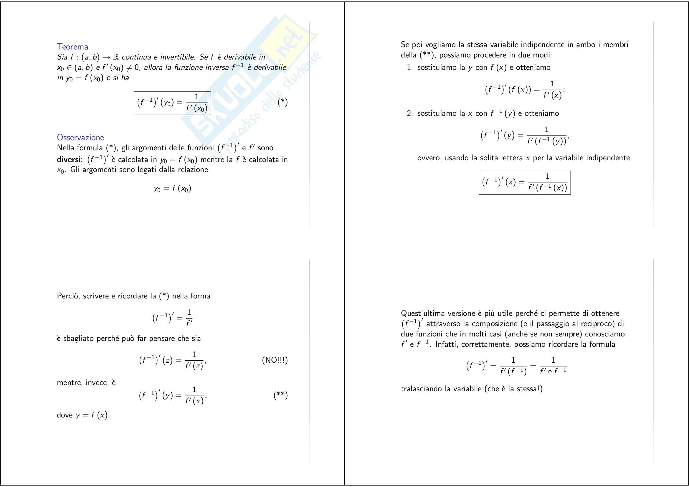 Analisi matematica – calcolo differenziale – Appunti Pag. 11