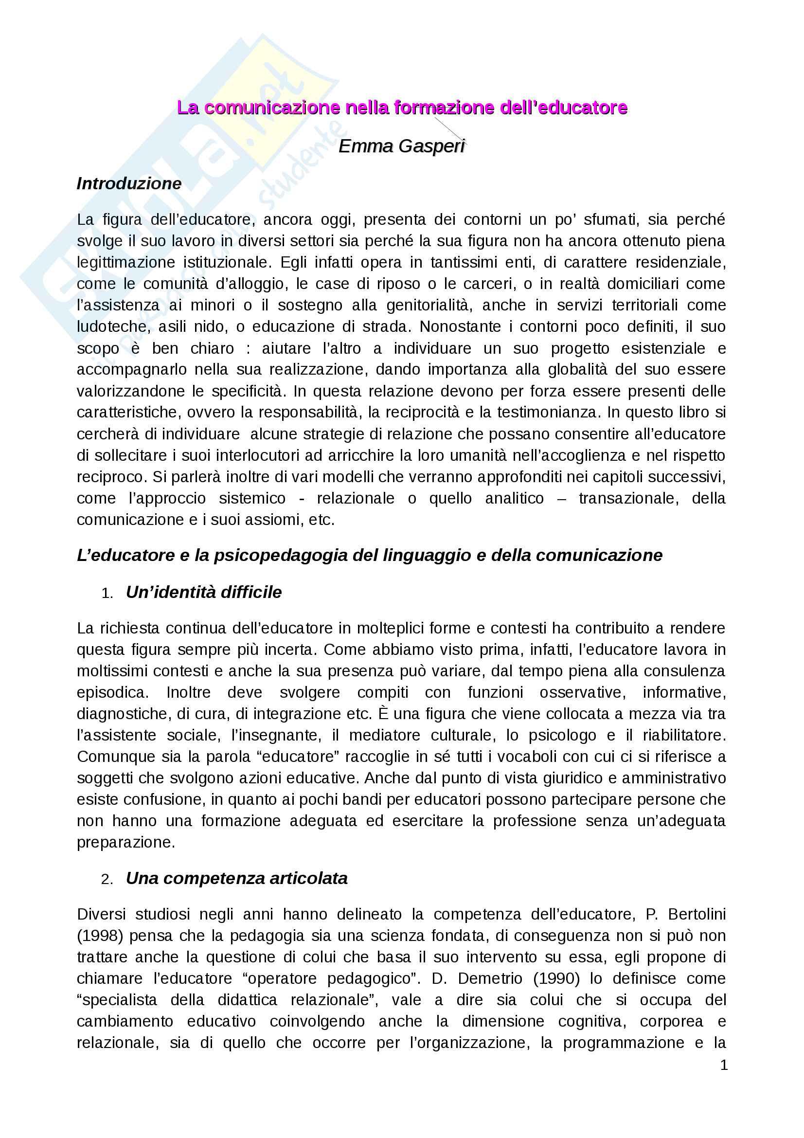 Riassunto esame metodologia della ricerca pedagogica, prof. E. Gasperi, libro consigliato La comunicazione nella formazione dell'educatore, Gasperi