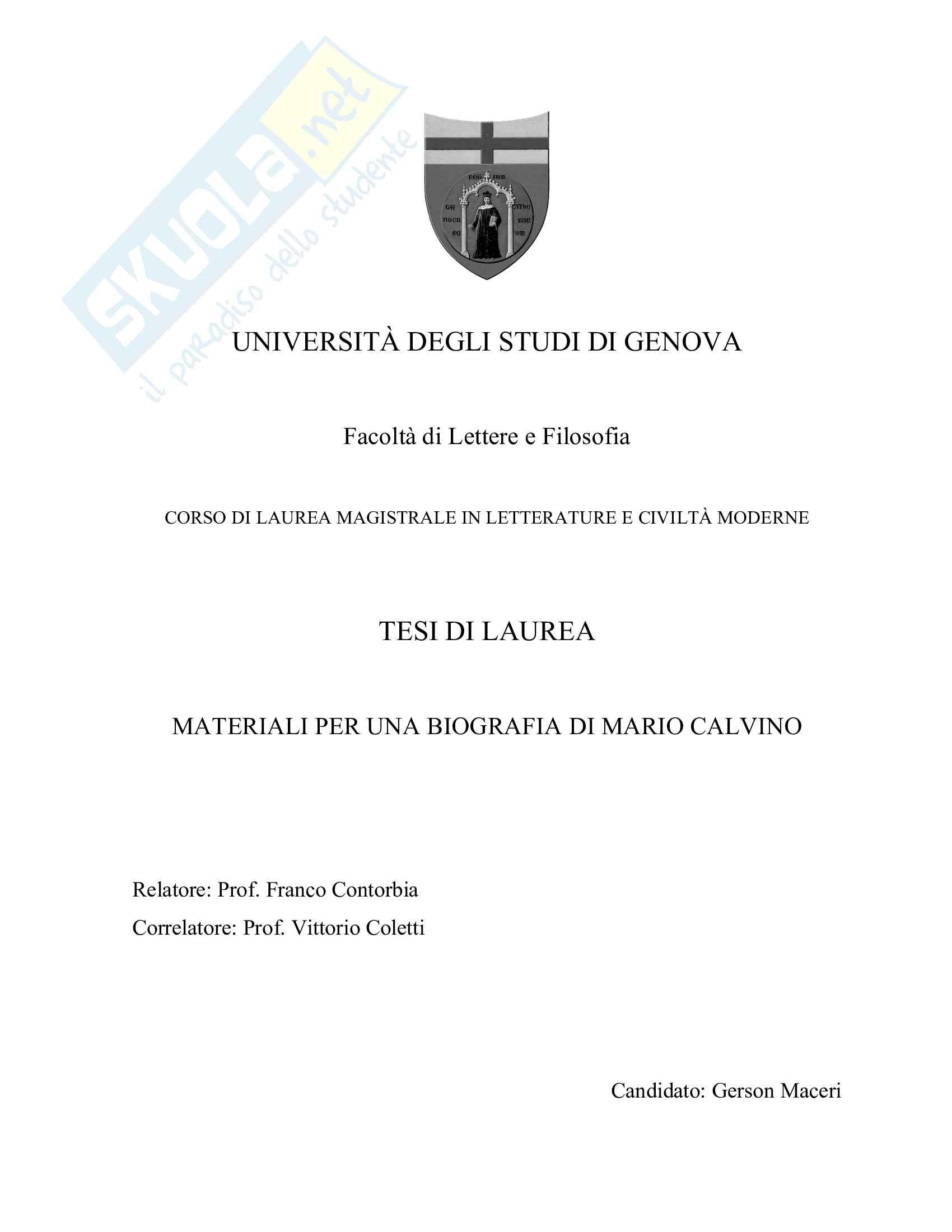 Tesi, Materiali per una biografia di Mario Calvino Pag. 1