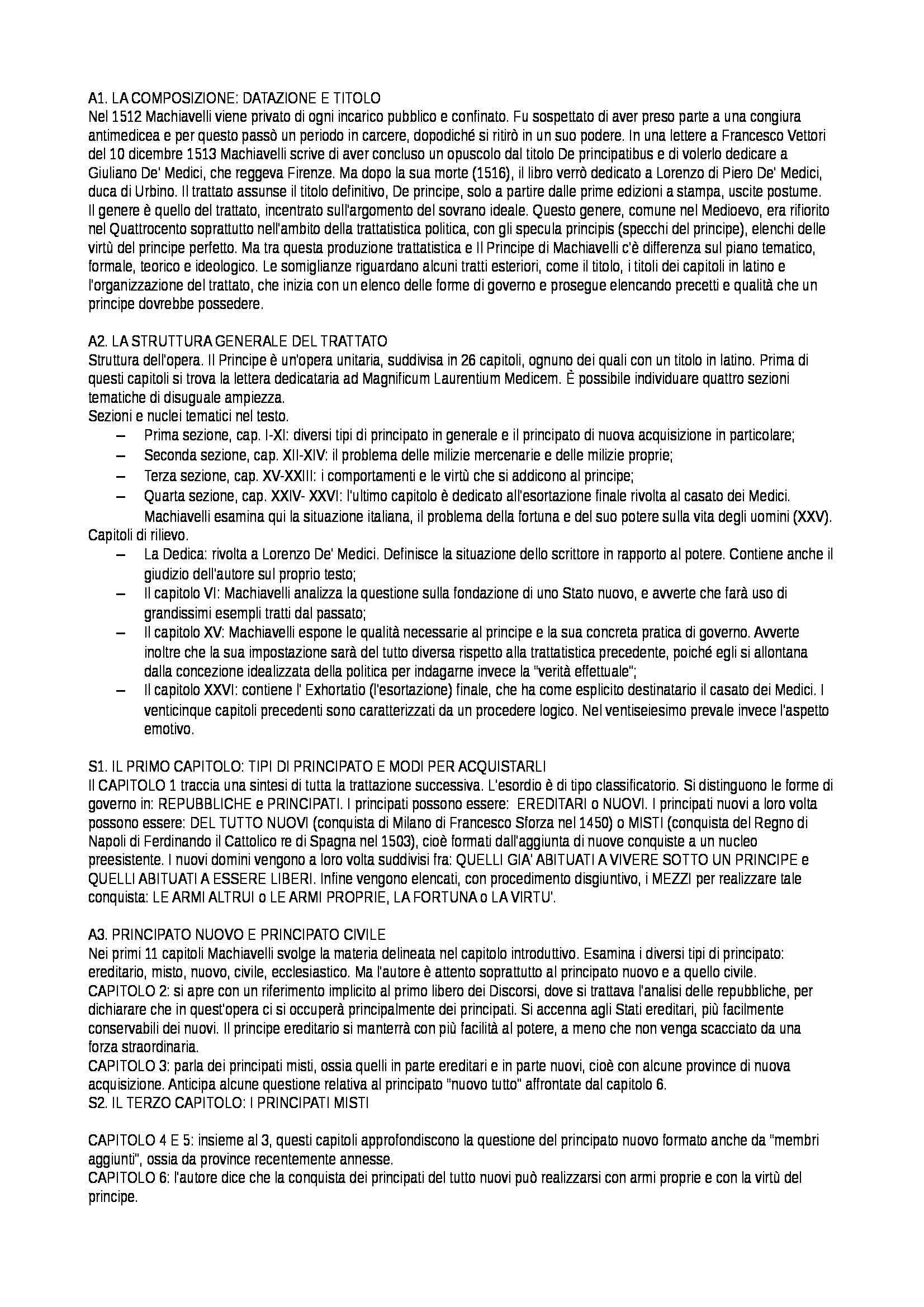 Letteratura italiana 1 - Principe, Machiavelli