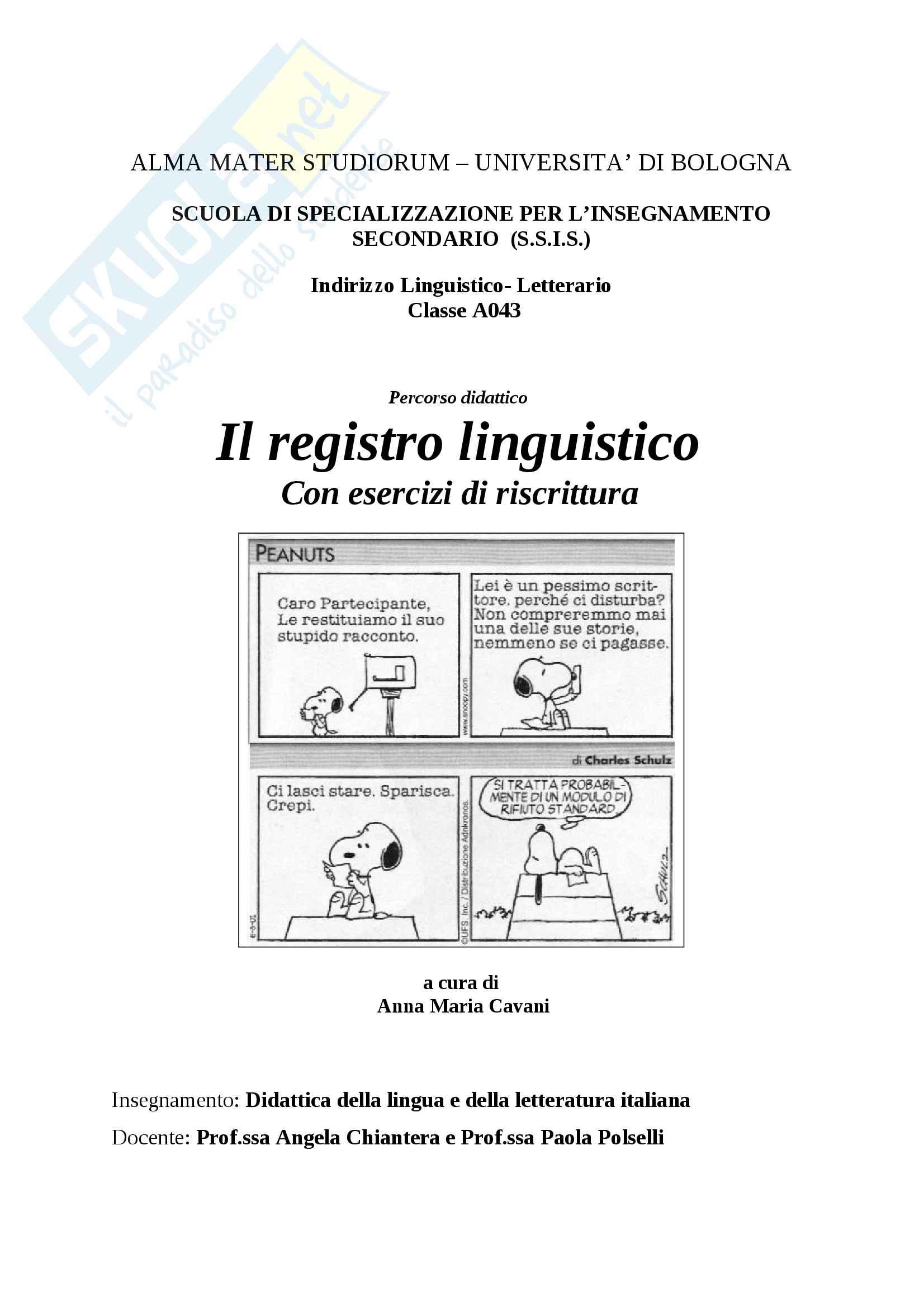 Registri linguistici - percorso didattico - unità di apprendimento