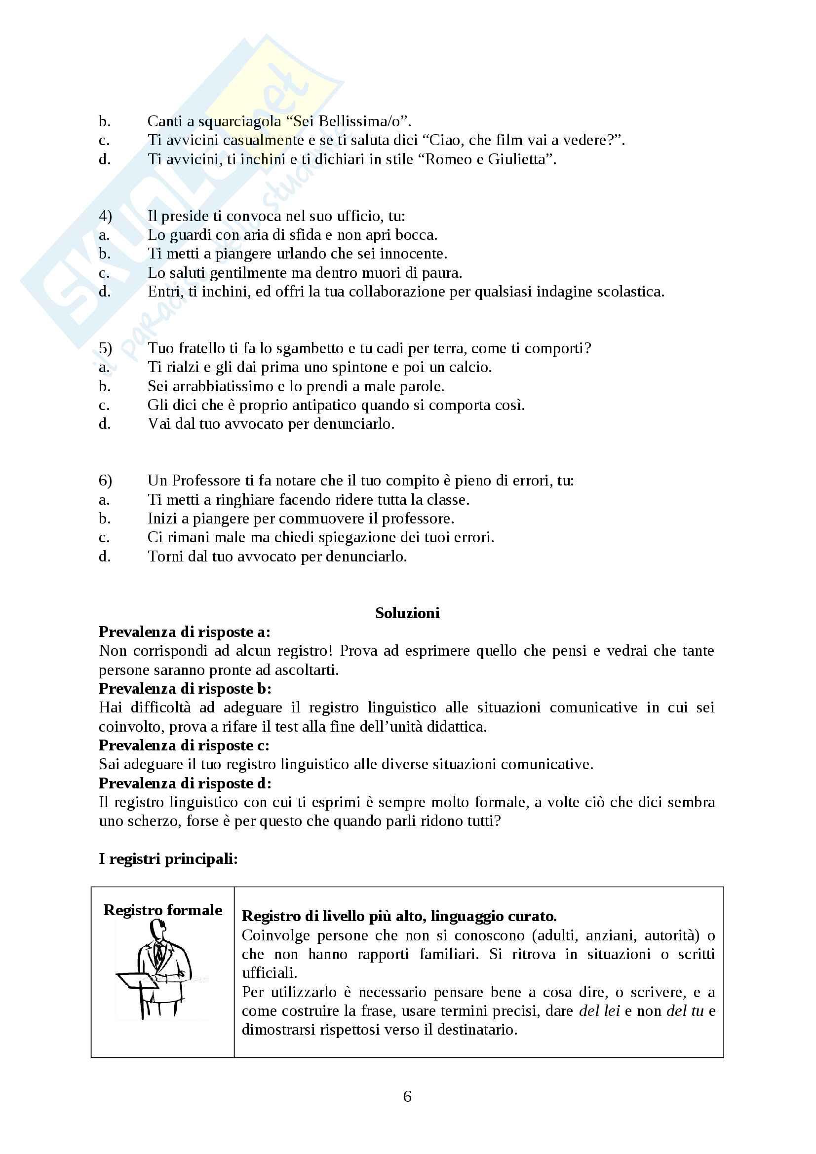 Registri linguistici - percorso didattico - unità di apprendimento Pag. 6