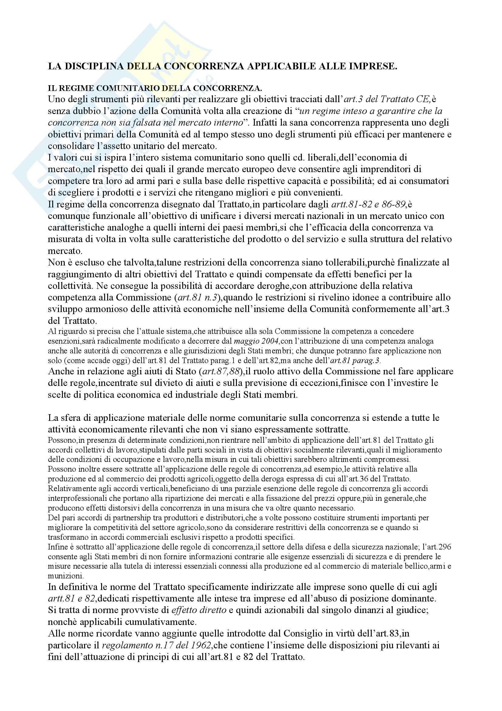 Riassunto esame Diritto dell'Unione Europea, prof. De Pasquale, libro consigliato Diritto Comunitario, Tesauro - cap. 7