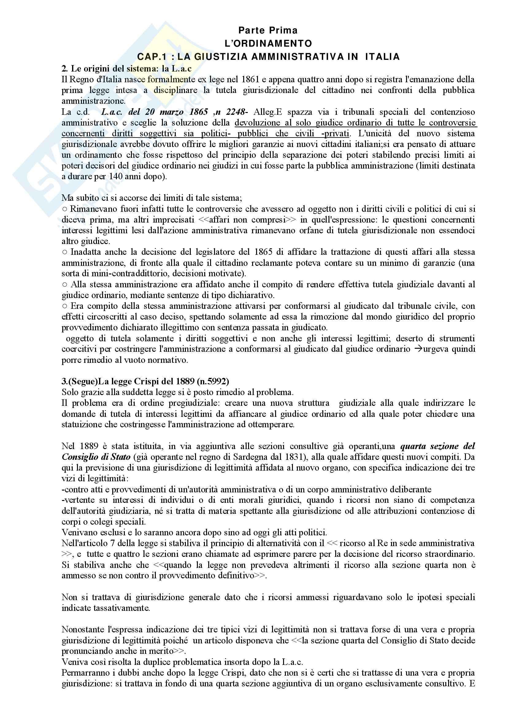 Riassunto esame Diritto Amministrativo, prof. Apicella, libro consigliato Sistema di Giustizia Amministrativa, Saitta