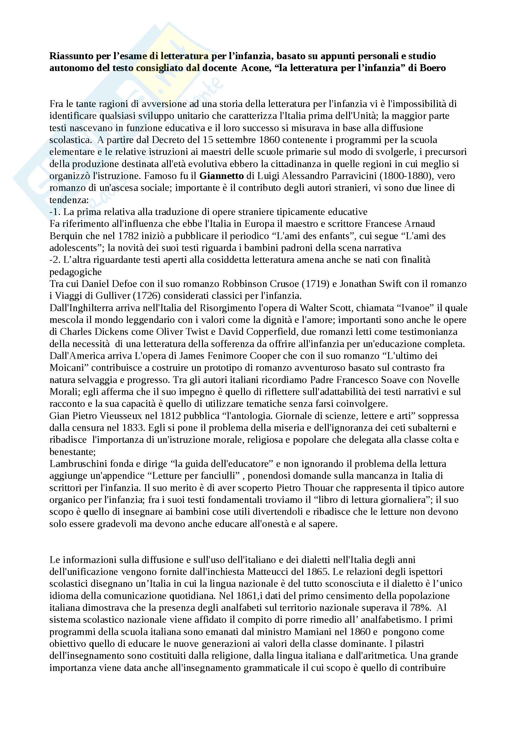 Riassunto esame letteratura per l'infanzia, prof Acone, libro consigliato La letteratura per l'Infanzia, Boero, De Luca