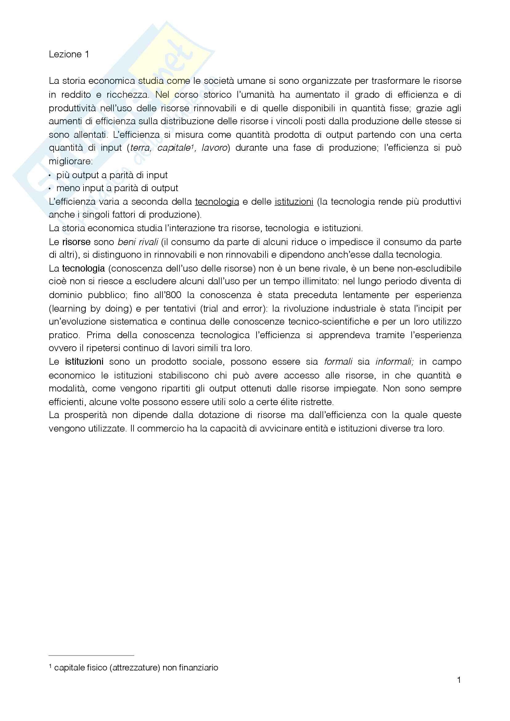 Riassunto esame Storia Economica, docente D'Alessandro, libro consigliato Storia Economica d'Europa, Persson